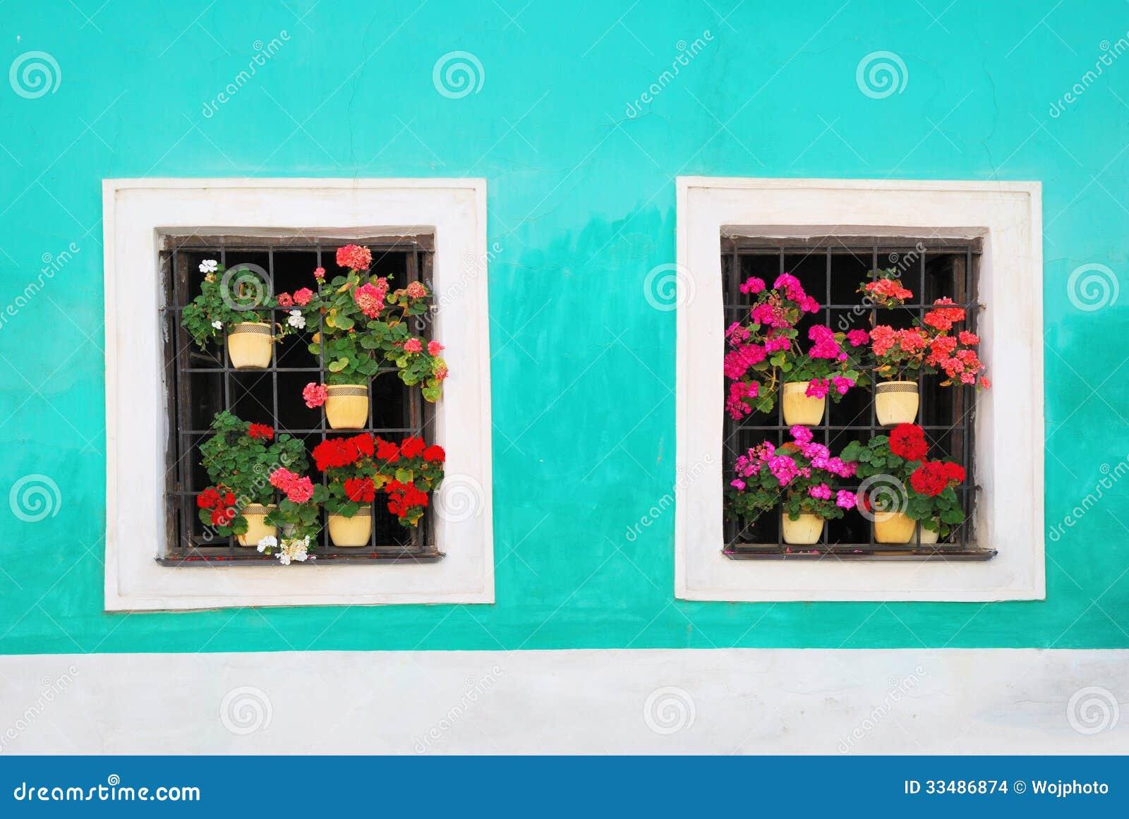Twee die vensters met verse kleurrijke bloemen worden verfraaid