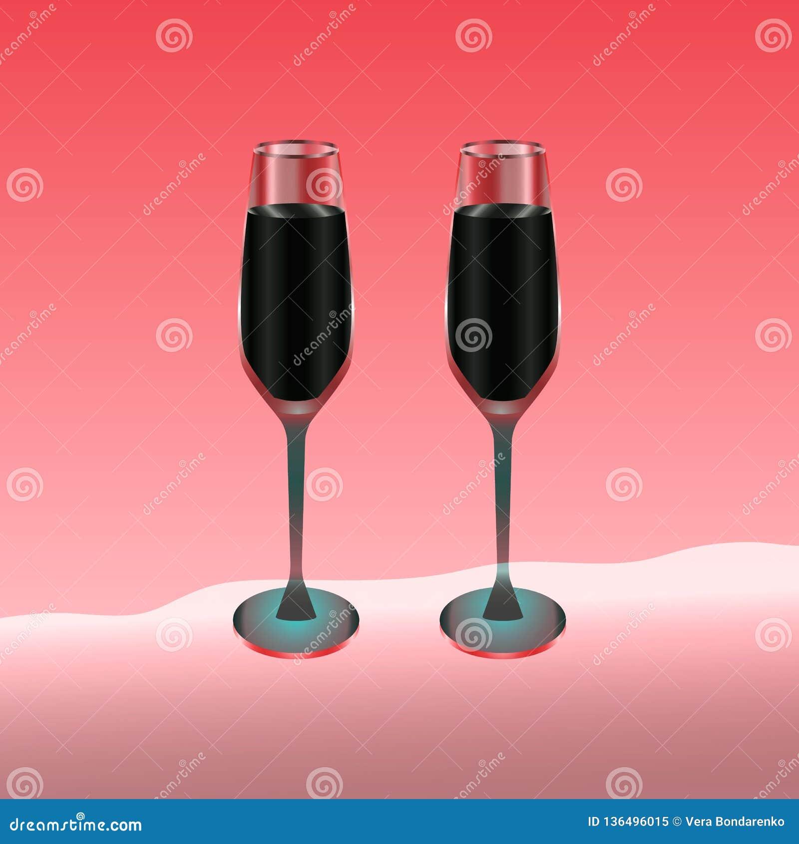 Twee die wijnglazen met rode drank op rood worden gevuld