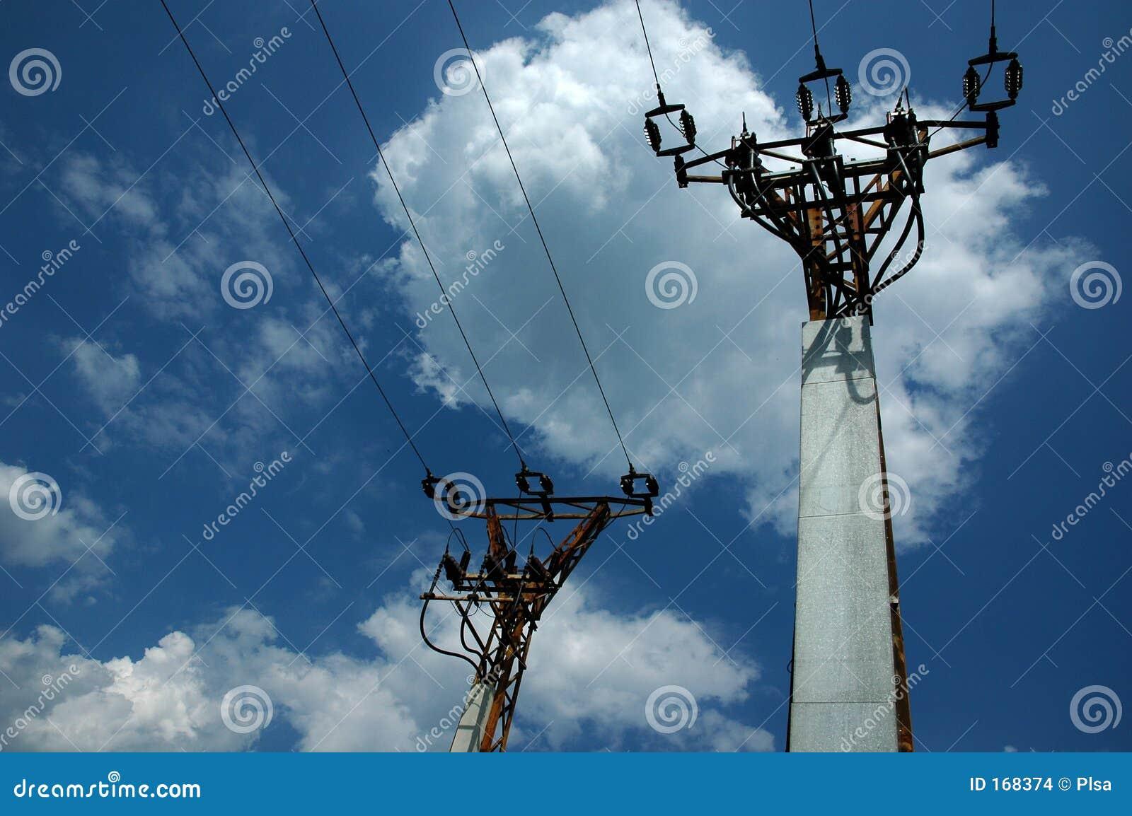 Twee elektrische polen