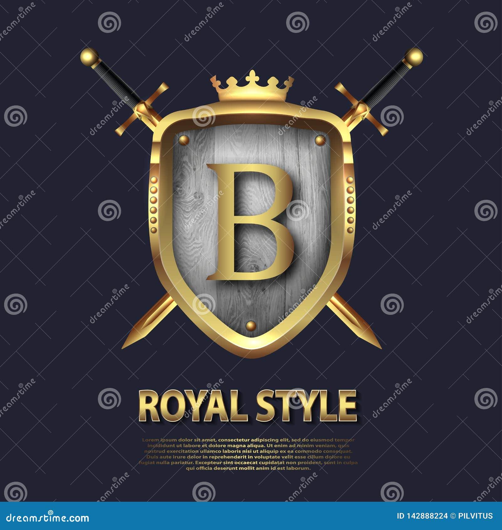 Twee gekruist zwaarden en schild met kroon en brief B r