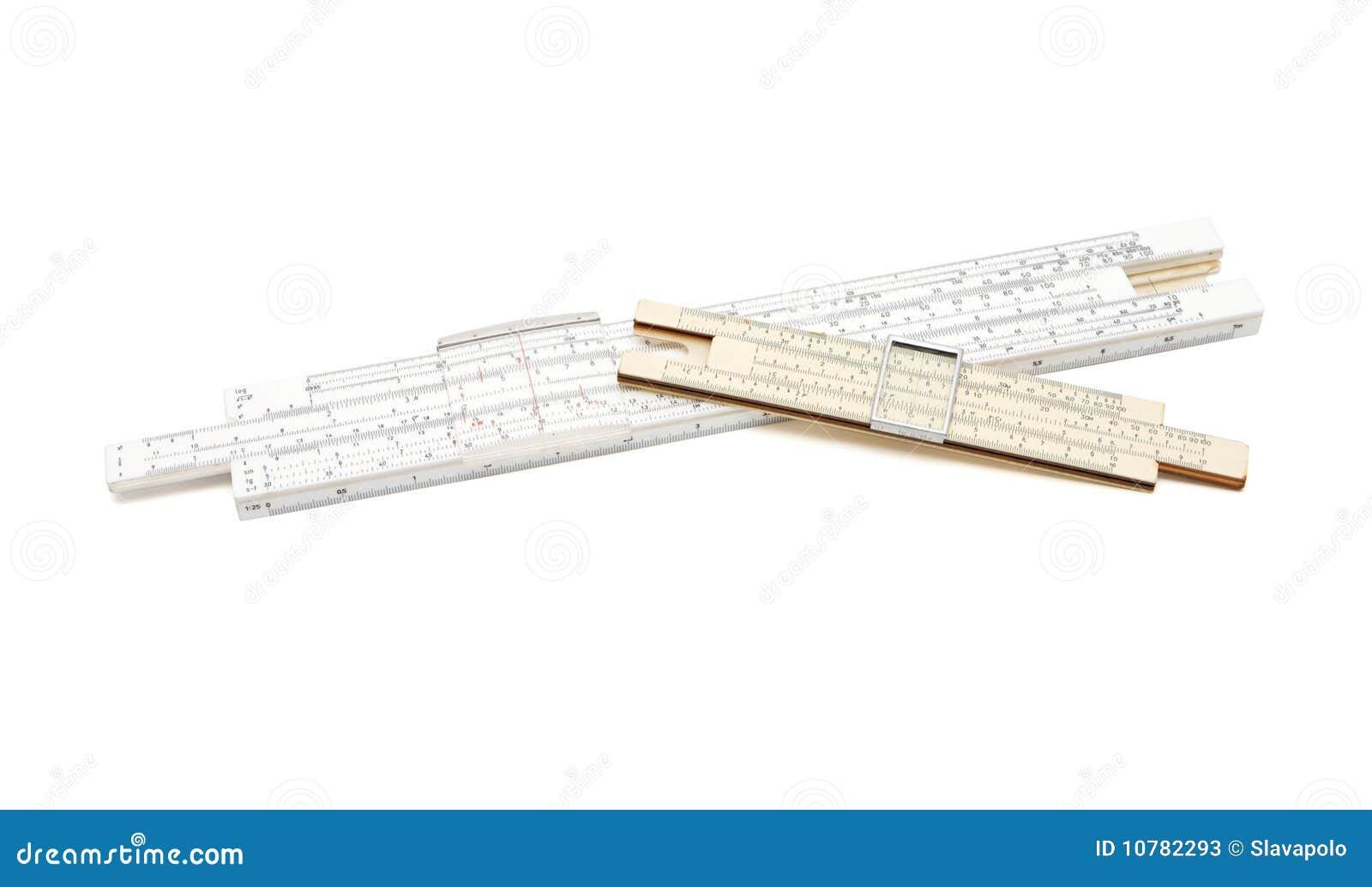 Twee gekruiste uitstekende rekenliniaal mechanische calculat