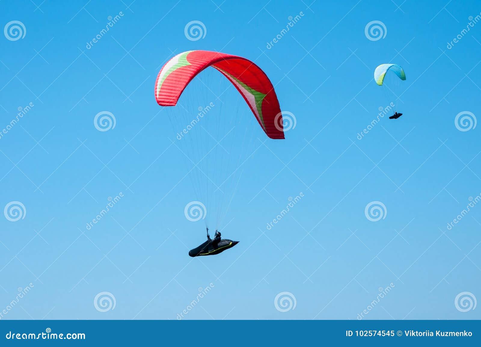 Twee glijschermen die in de blauwe hemel vliegen