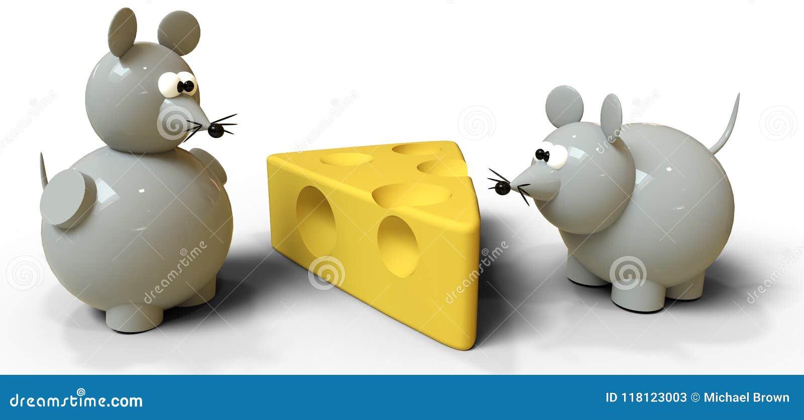 Twee grijze muizen concurreren voor Zwitserse kaas