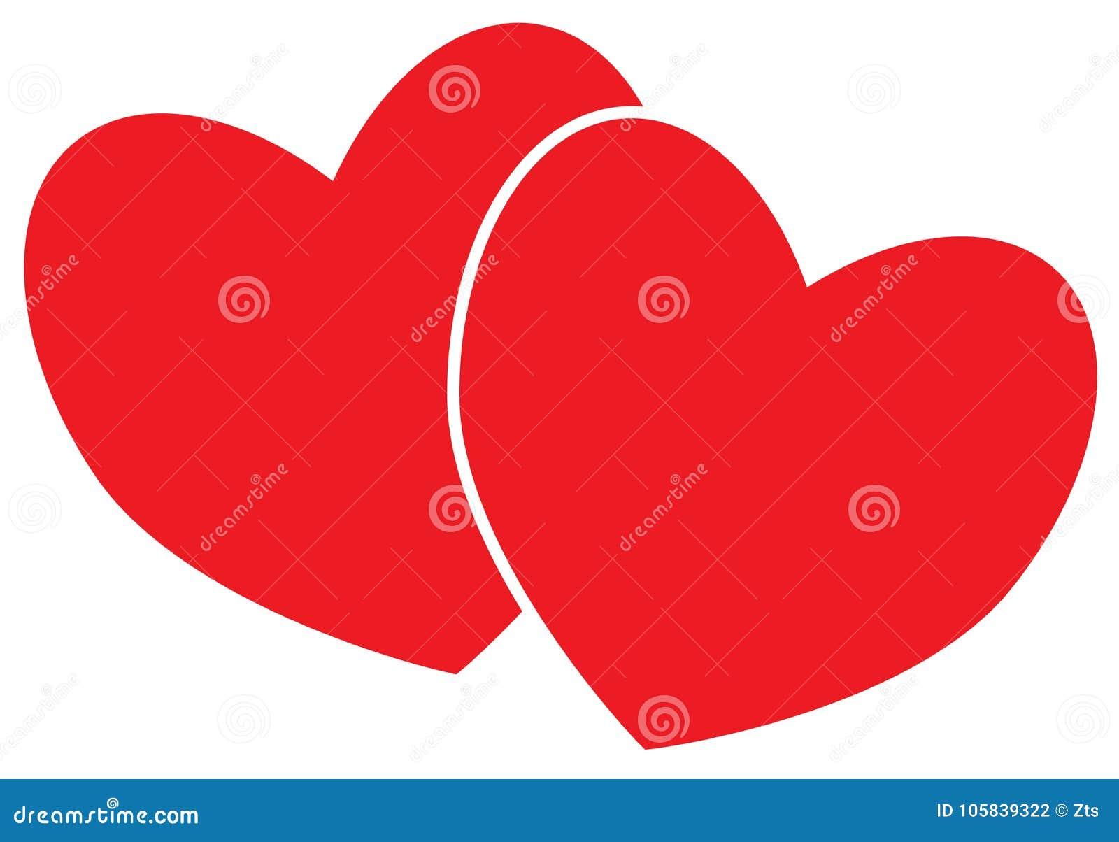 Twee harten concept voor liefde