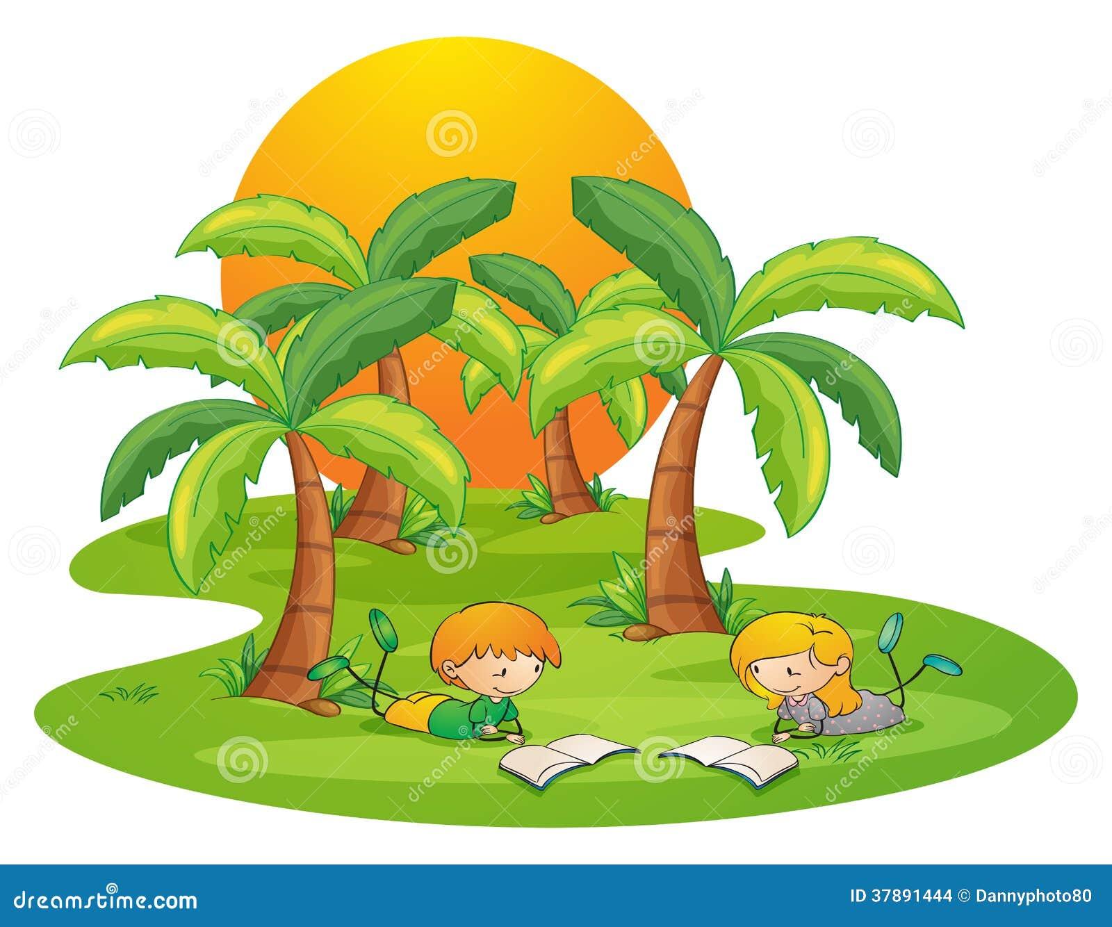 Twee jonge geitjes in de eilandlezing dichtbij de kokospalmen