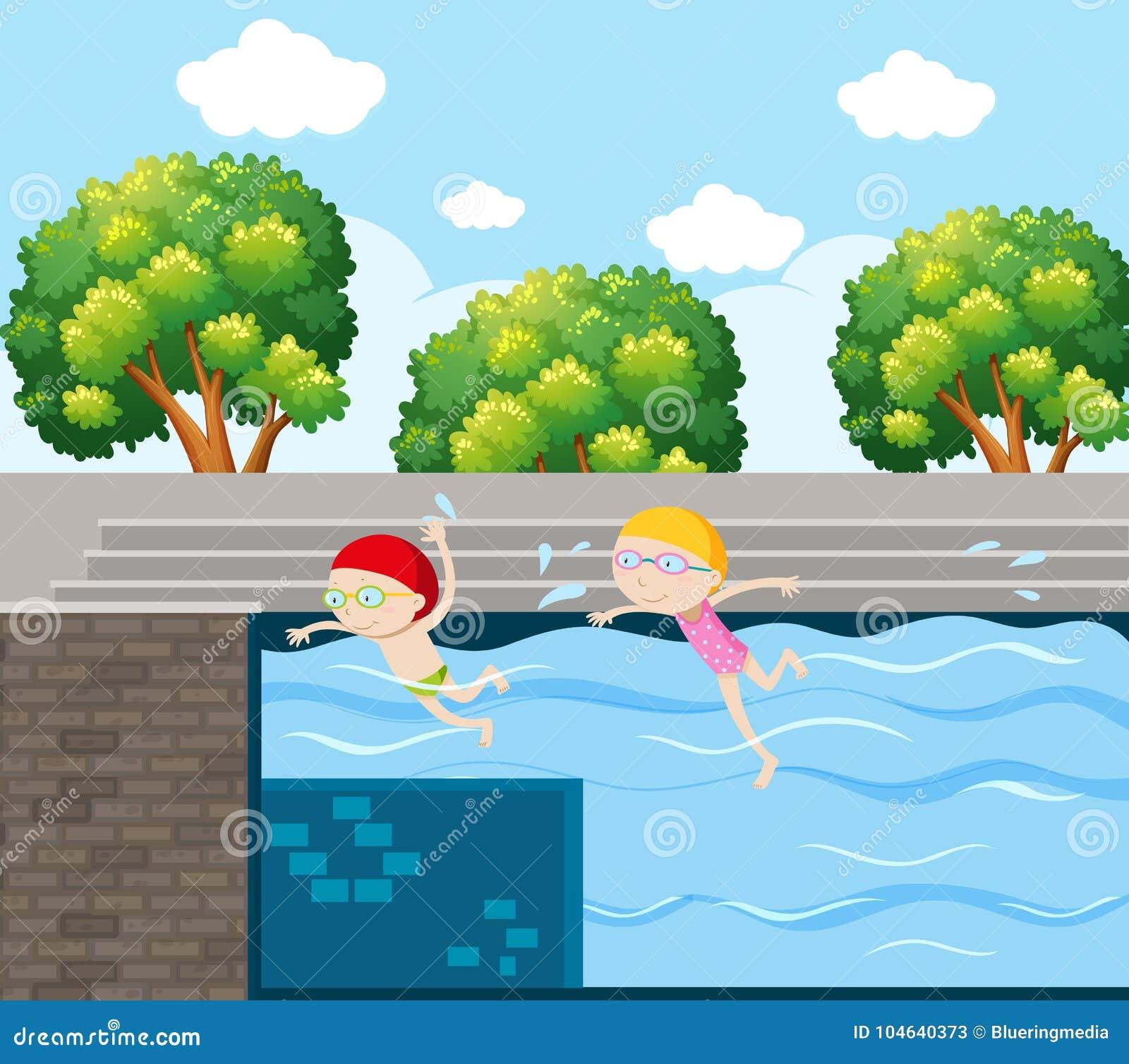 Download Twee Jonge Geitjes Die In Pool Zwemmen Vector Illustratie - Illustratie bestaande uit tekening, art: 104640373
