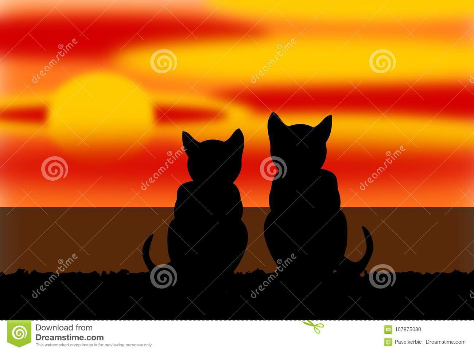 Twee Katten door het Overzees in een Zonsondergang