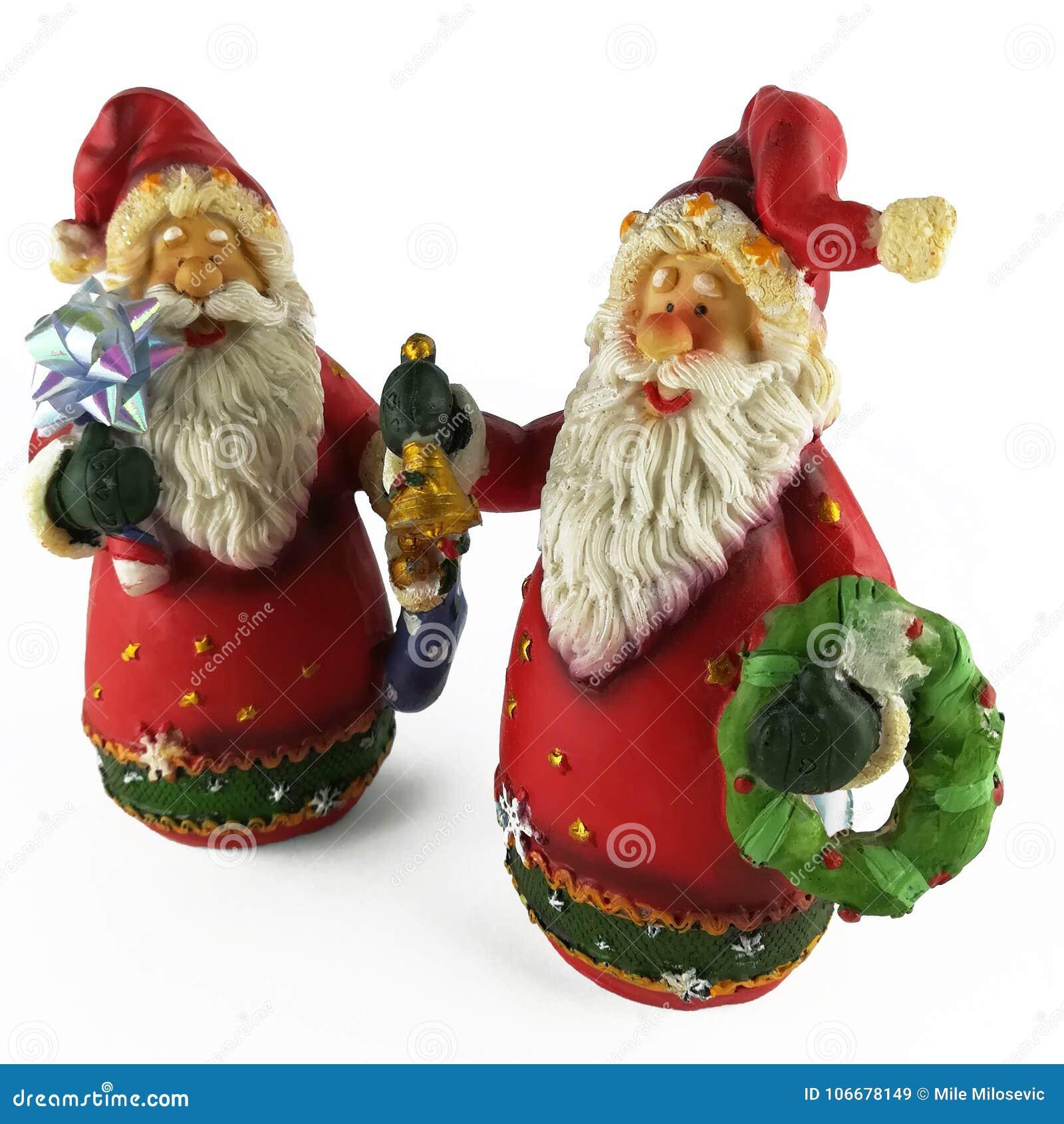 Twee Kerstmisbeeldje van de Kerstman