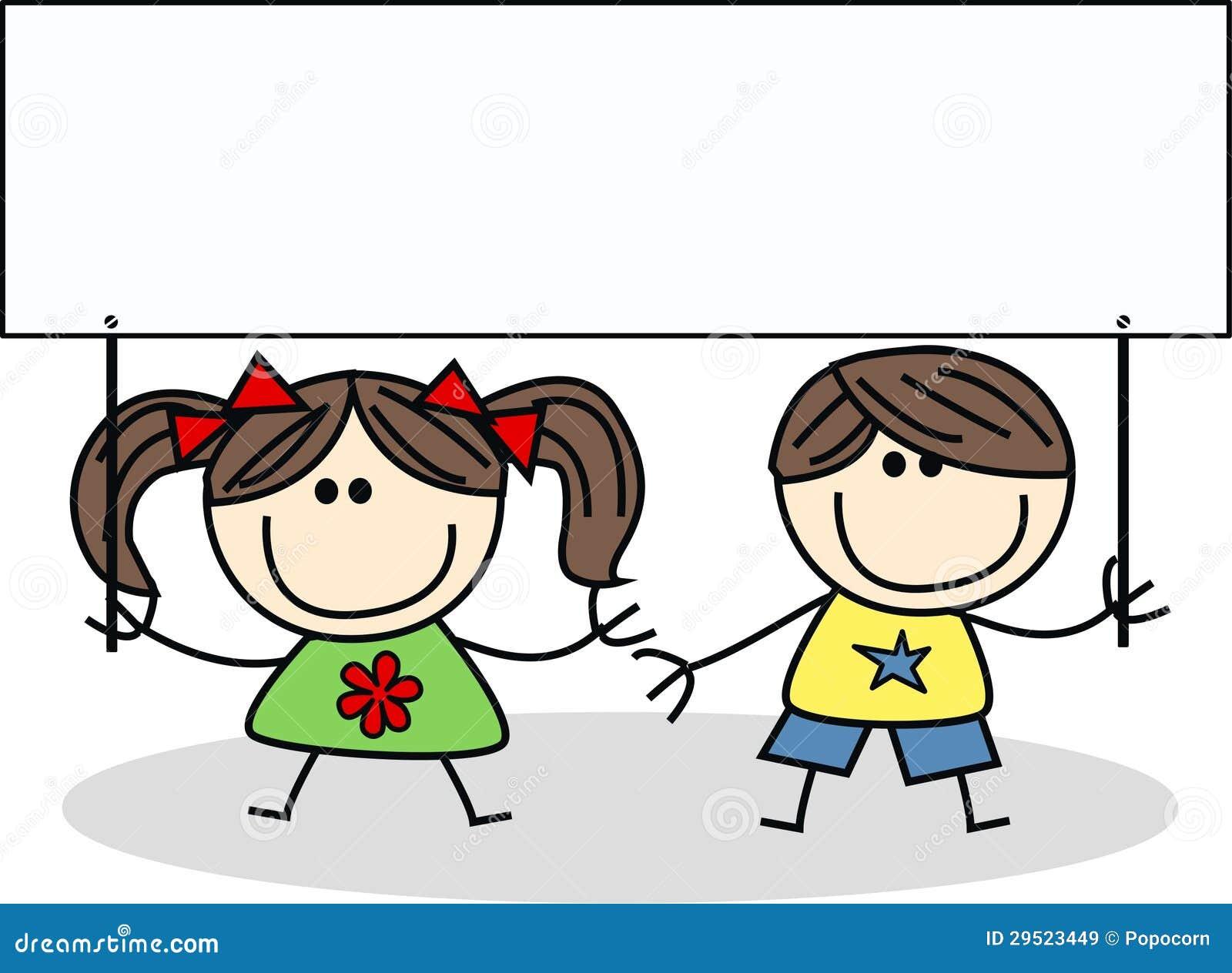 Twee kinderen met een aanplakbiljet vector illustratie afbeelding 29523449 - Twee meisjes en een jongen ...