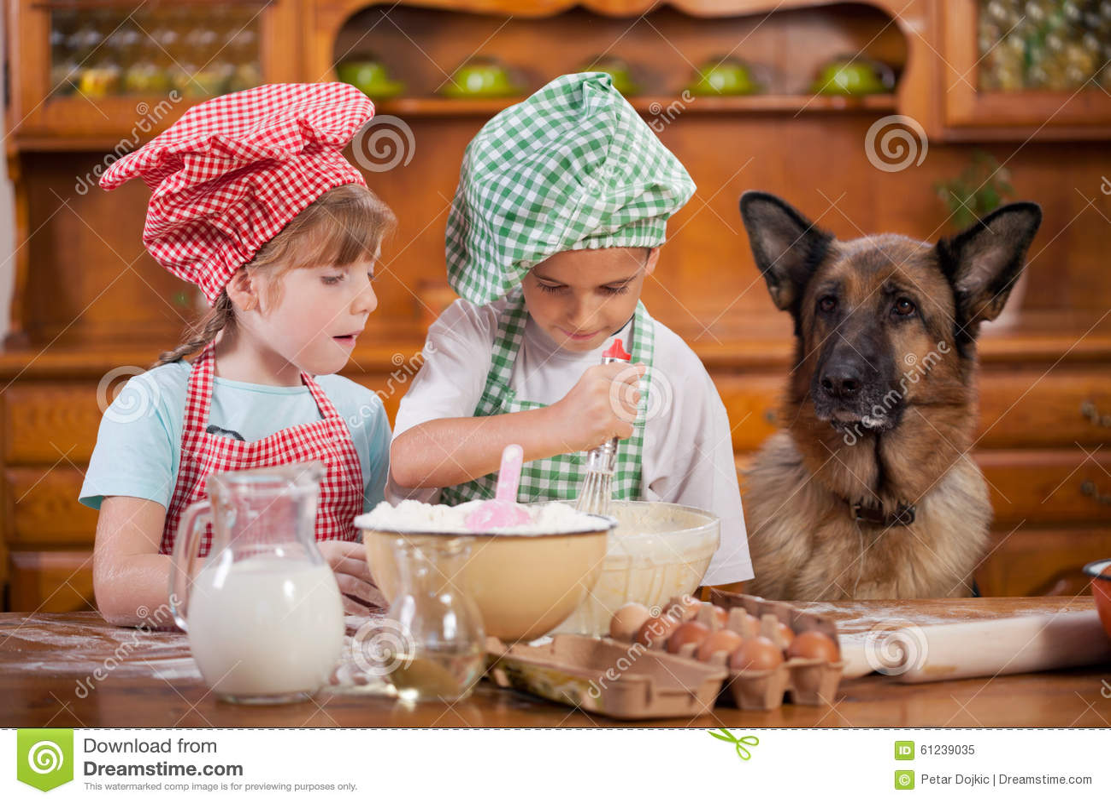 Twee kleine chef koks die van in de keuken genieten die groot maken knoeien duits stock foto - Foto van kleine keuken amenagee ...