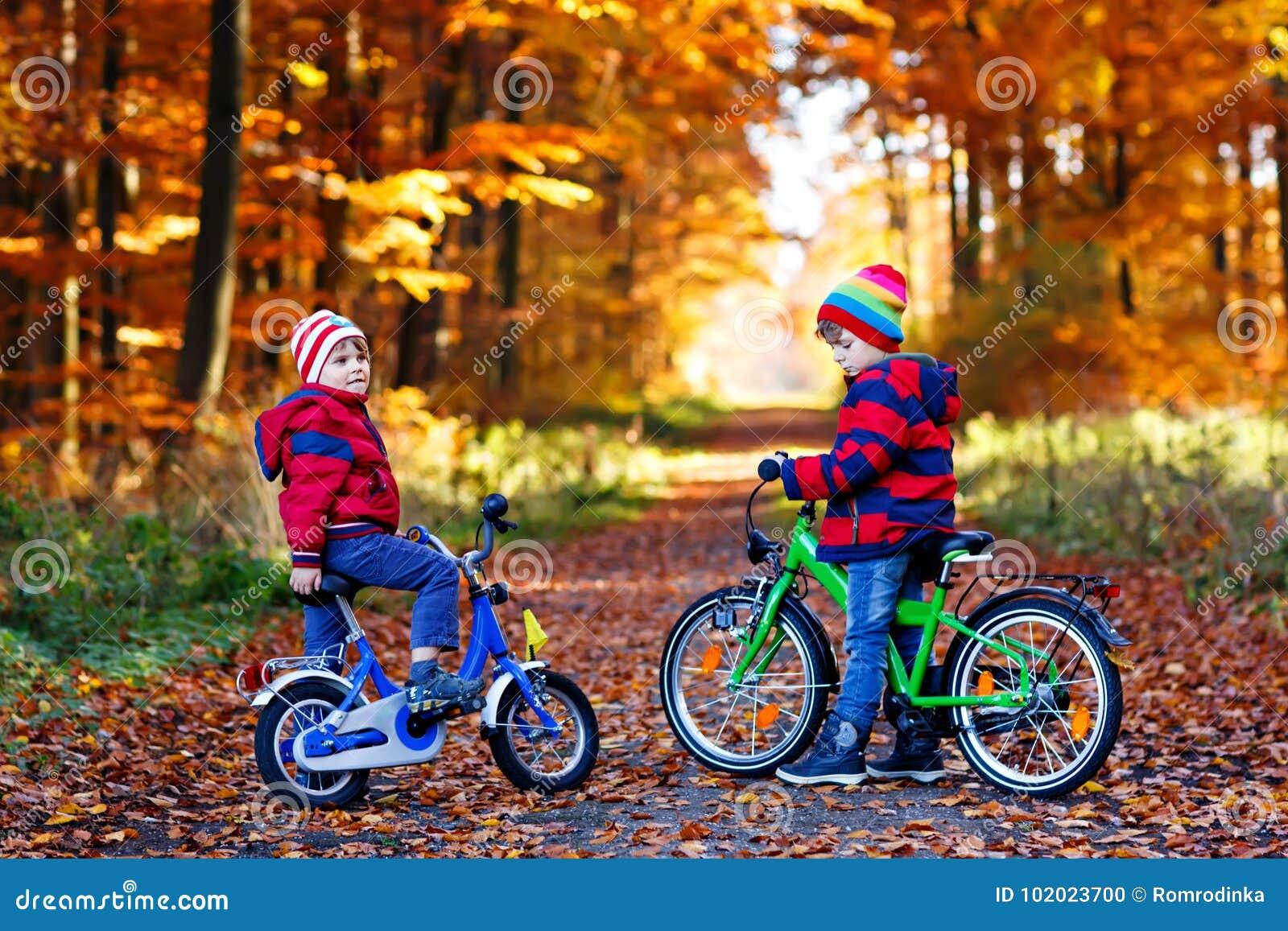 Twee kleine jonge geitjesjongens, beste vrienden die pret in de herfstpark hebben met fietsen
