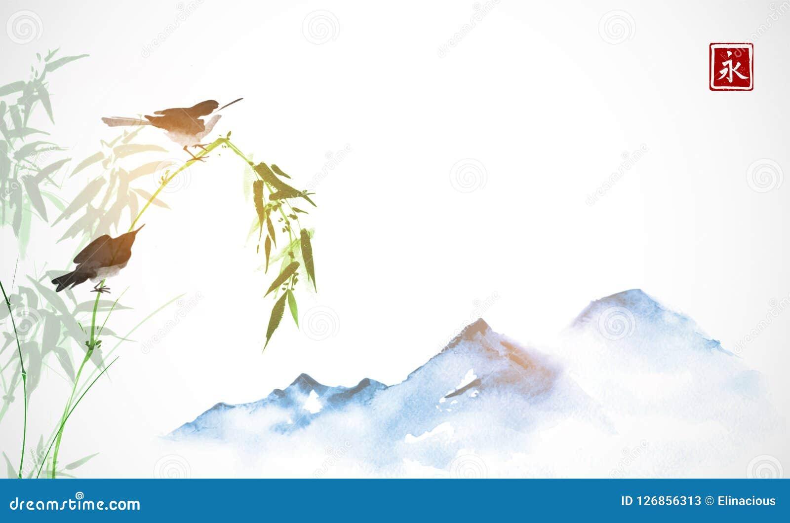 Twee kleine vogels, bamboetak en verre blauwe bergen Traditionele oosterse inkt die sumi-e, u-zonde, gaan-hua schilderen