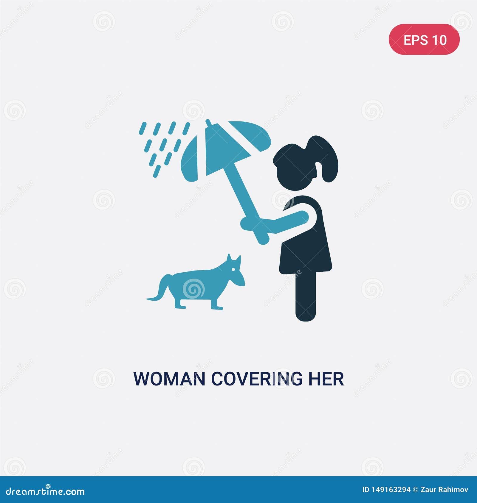 Twee kleurenvrouw die haar huisdier behandelen met een paraplu vectorpictogram van mensenconcept geïsoleerde blauwe vrouw die haa