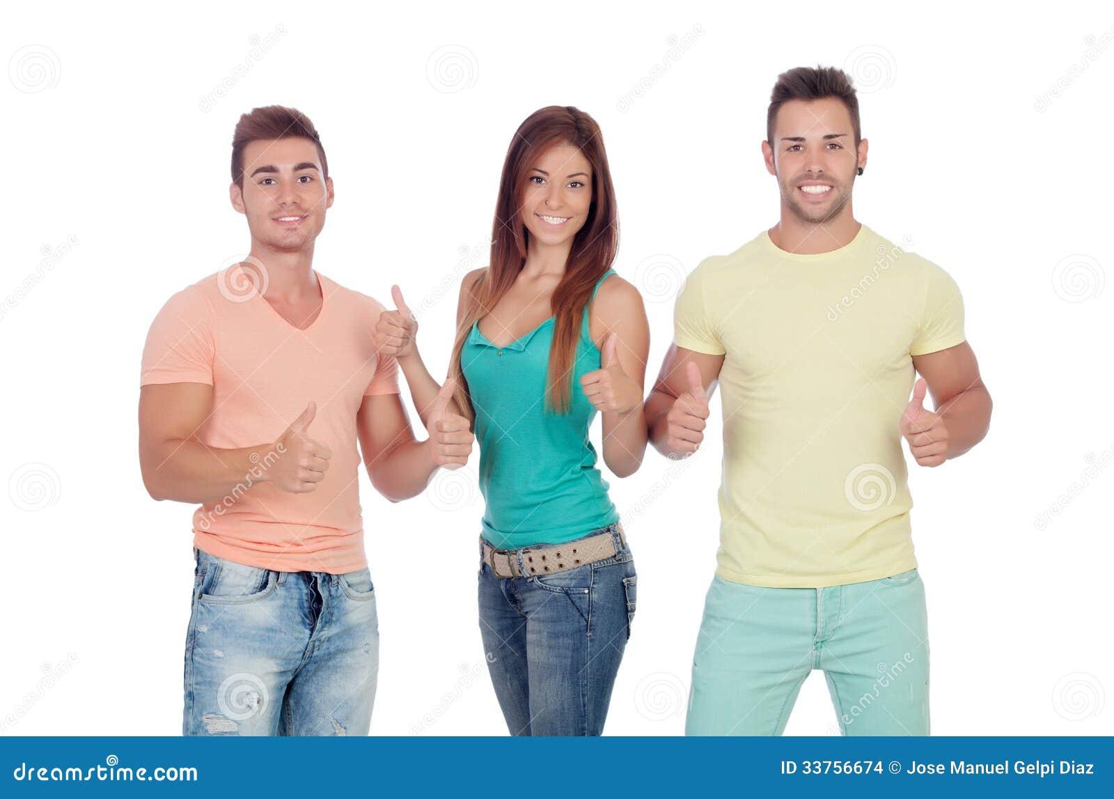 Twee knappe jongens met een mooi meisje die o k zeggen stock afbeeldingen afbeelding 33756674 - Twee meisjes en een jongen ...