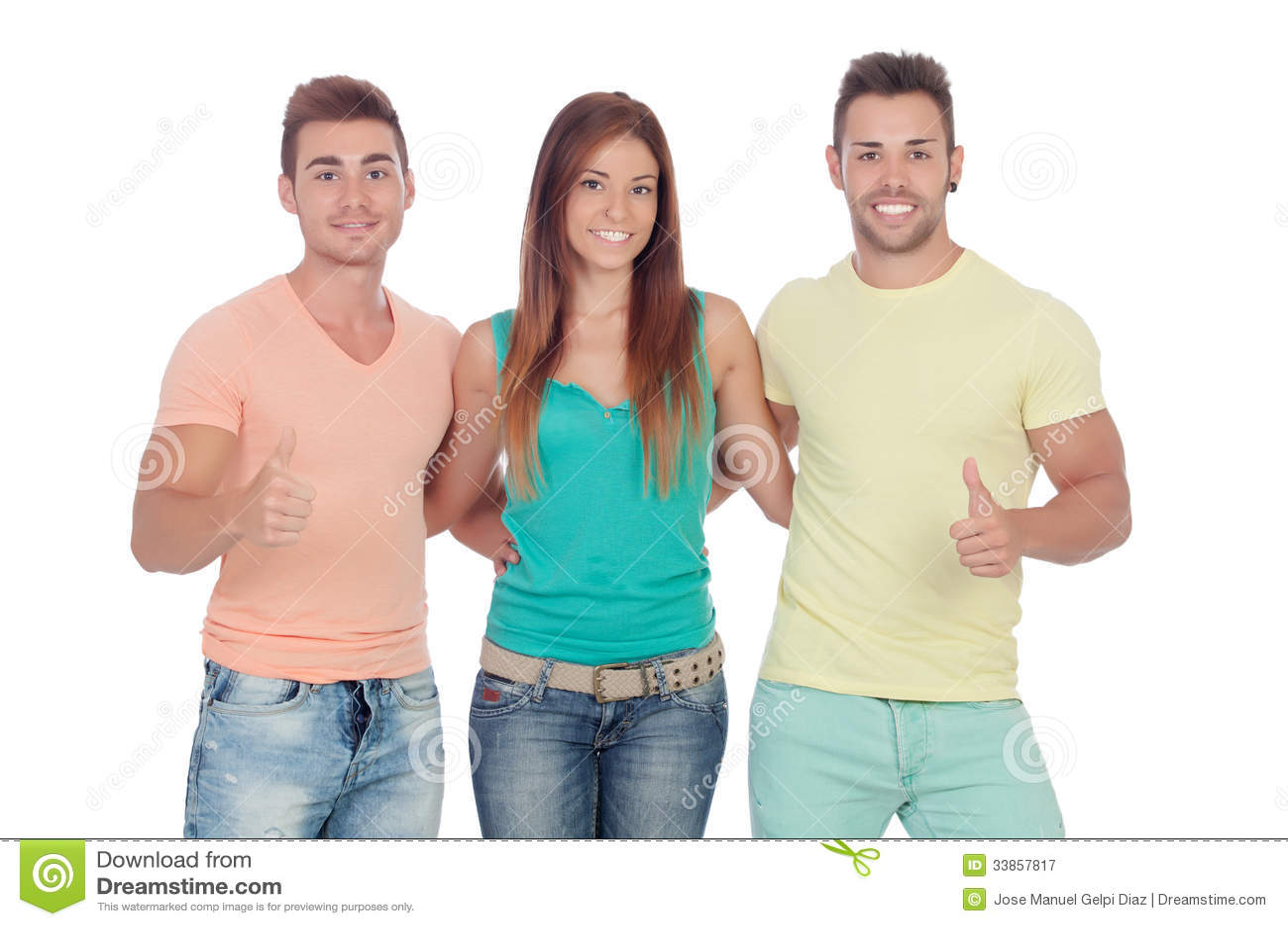 Twee knappe jongens met een mooi meisje die o k zeggen royalty vrije stock fotografie beeld - Twee meisjes en een jongen ...