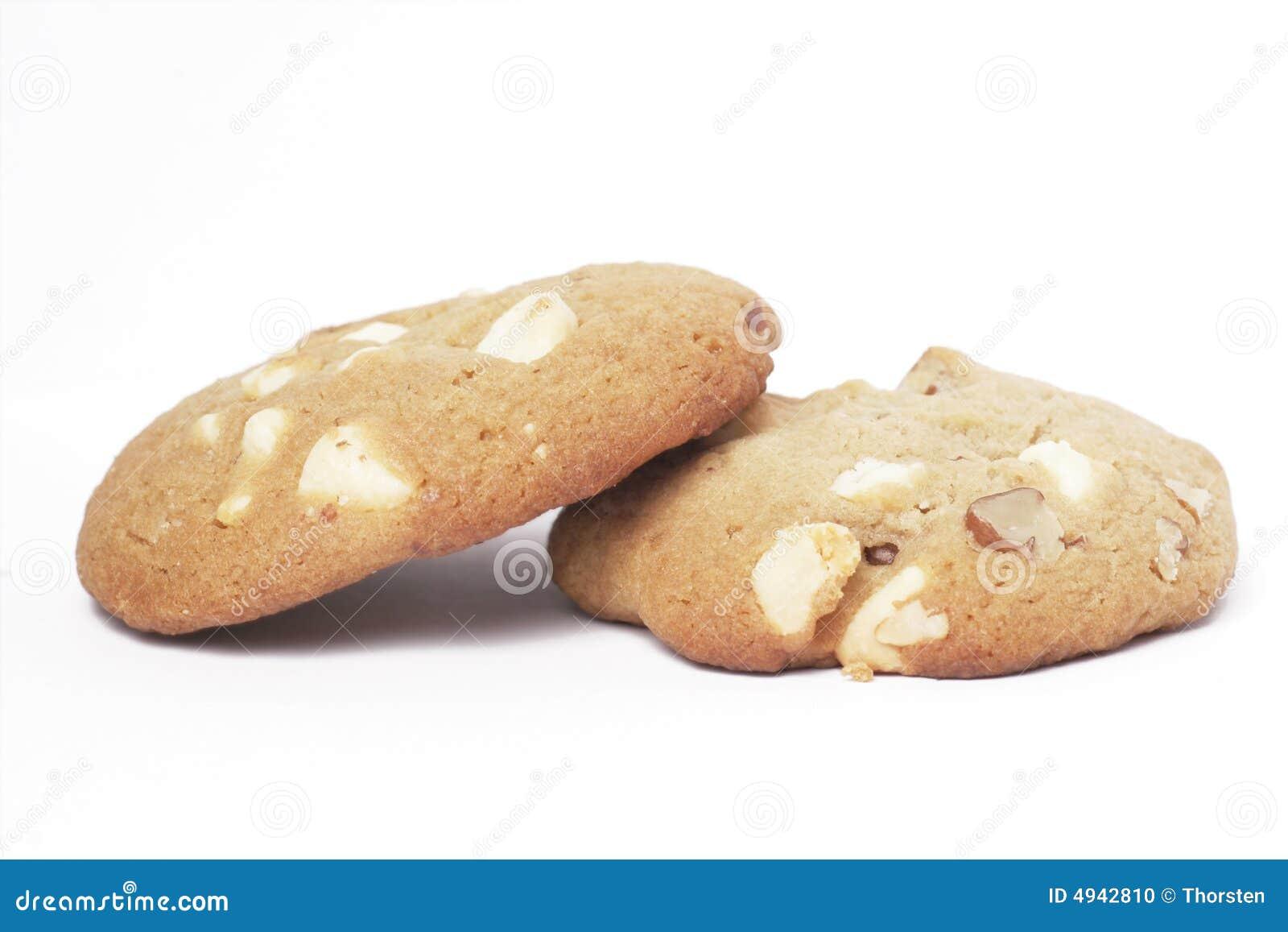 Twee koekjes van het koekje met witte chocolade en noten stock foto afbeelding 4942810 - Chocolade en witte badkamer ...
