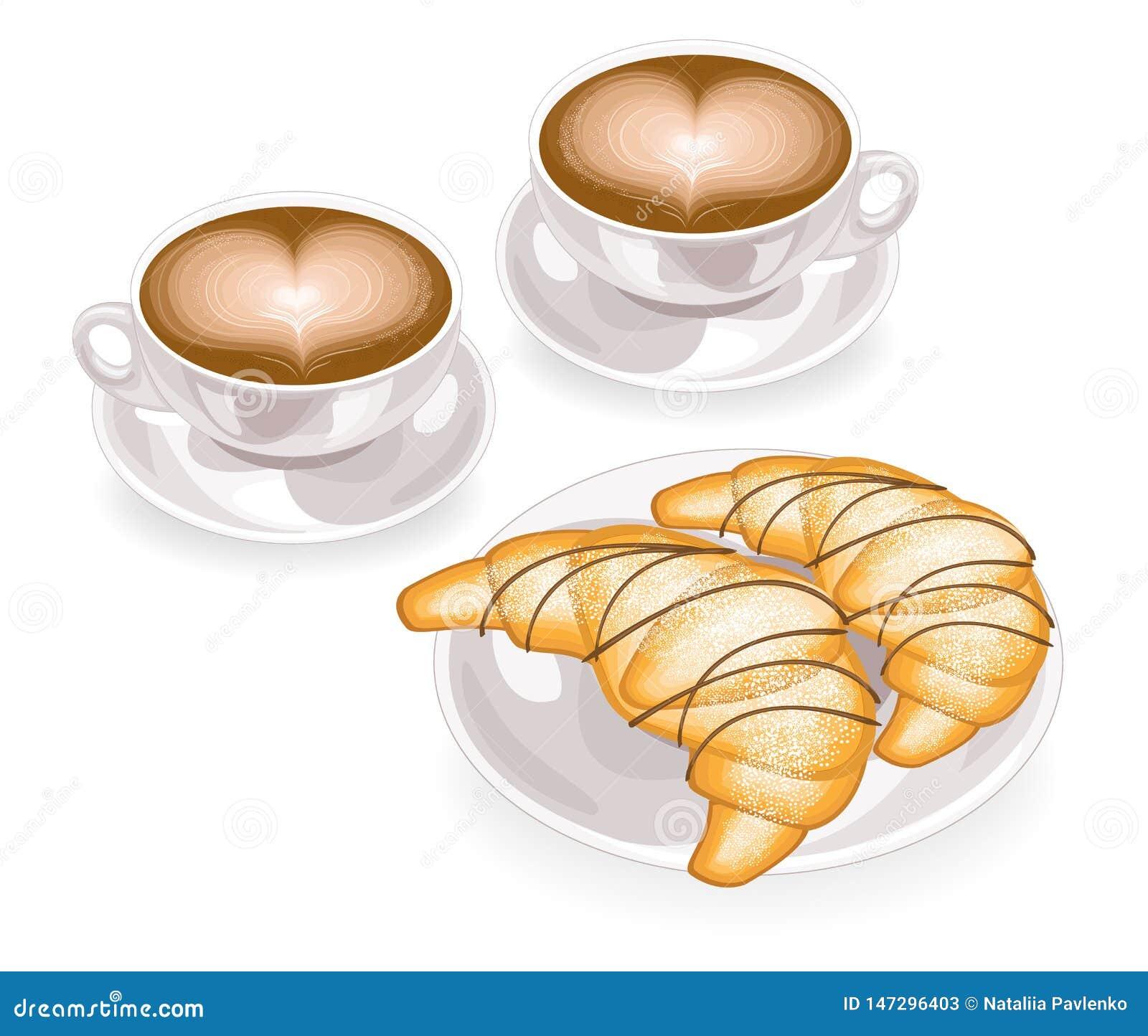 Twee koppen van koffie met schuim in de vorm van hart en vers croissant op een plaat met chocolade Klassieke Franse ontbijtvector