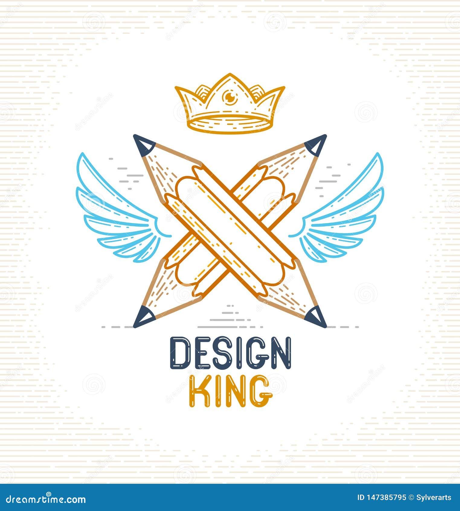 Twee kruisten potloden met vleugels en kroon, vector eenvoudig in embleem of pictogram voor ontwerper of studio, creatieve koning
