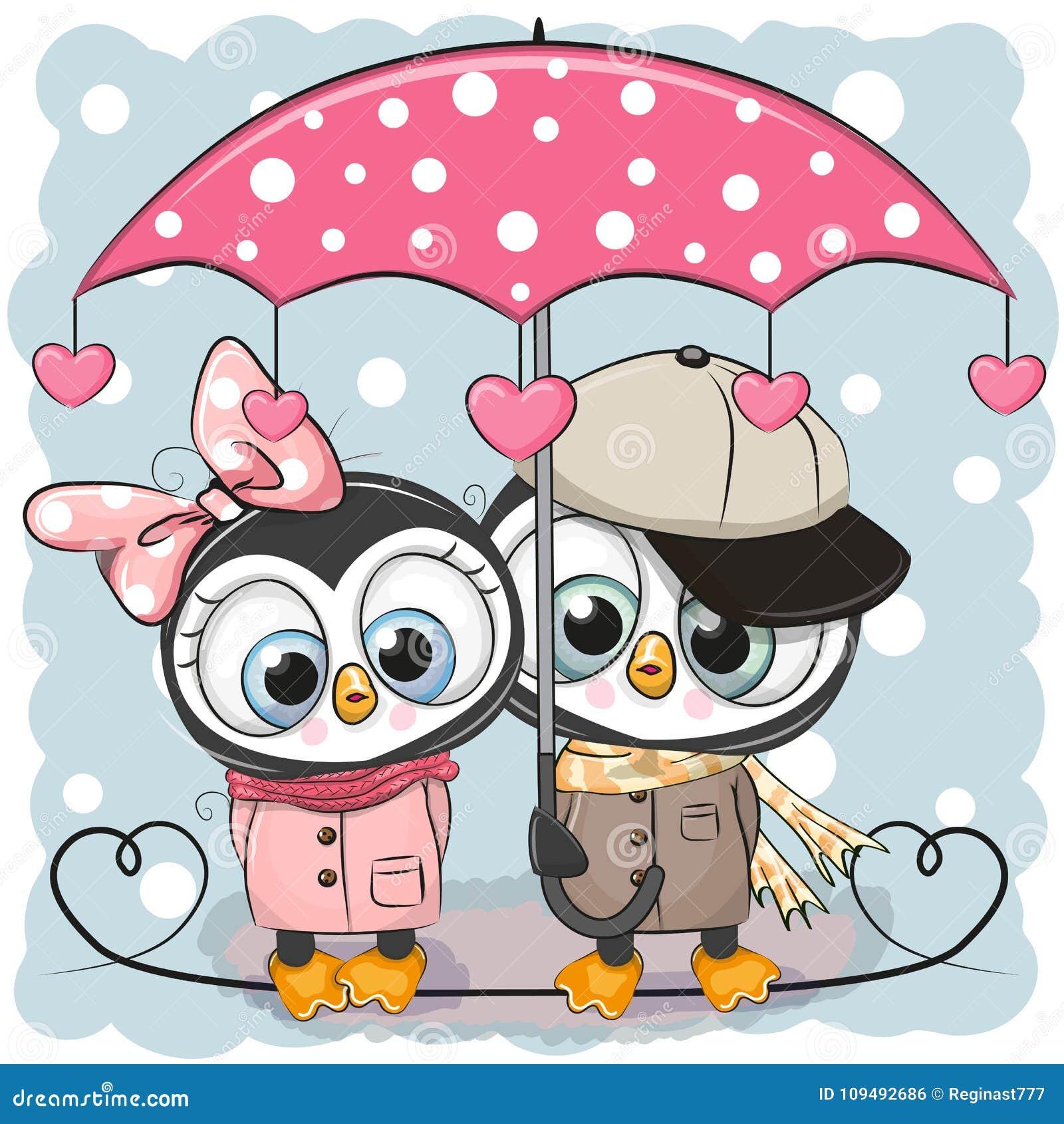 Twee Leuke Pinguïnen met paraplu onder de regen