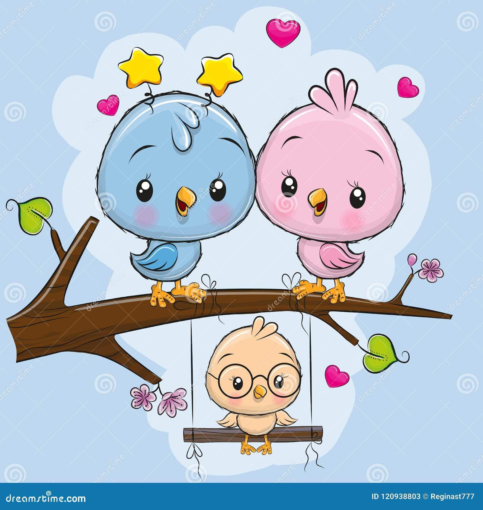 Twee leuke vogels en een kuiken