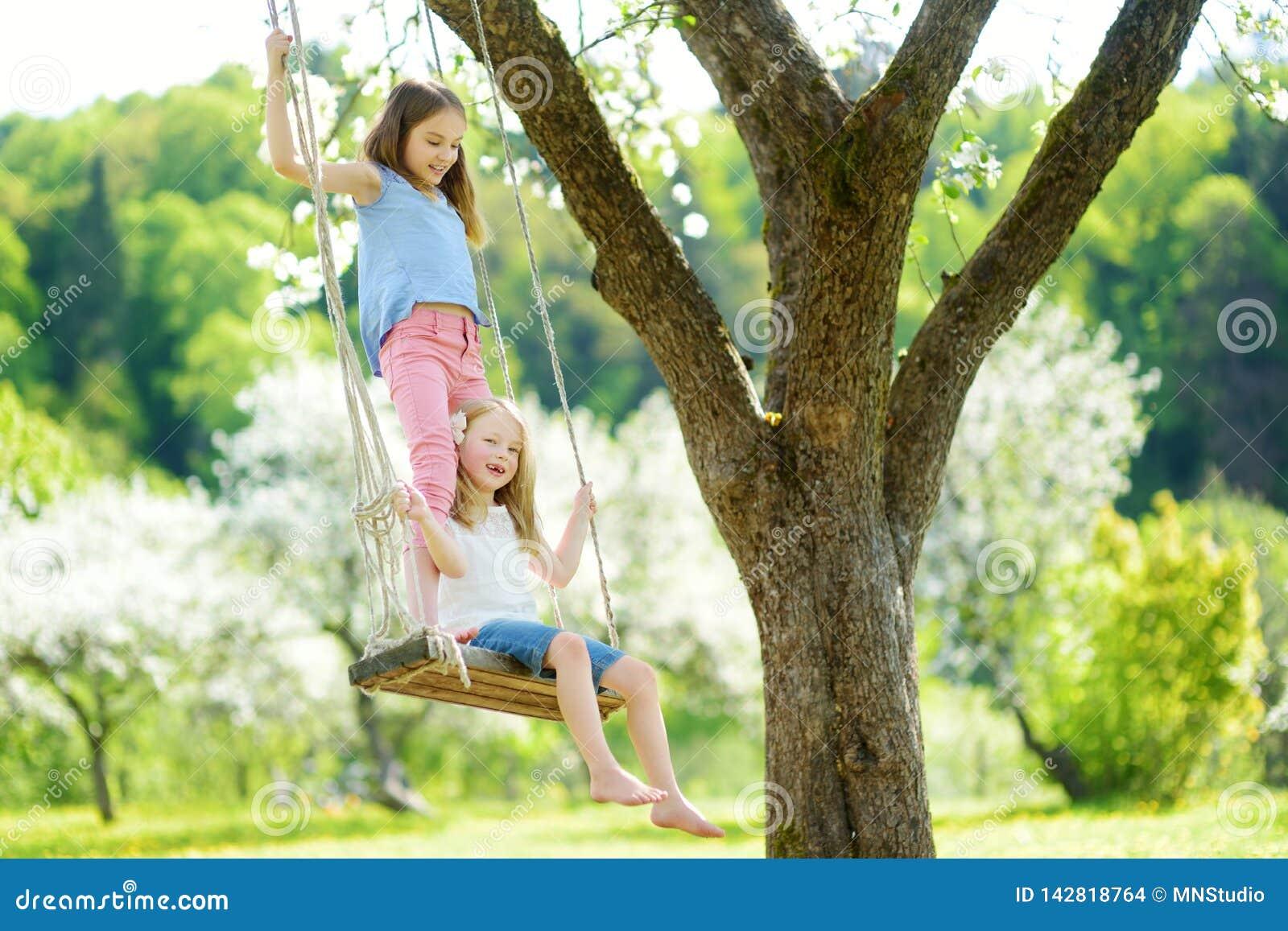 Twee leuke zusters die pret op een schommeling in de tot bloei komende oude tuin van de appelboom in openlucht op zonnige de lent