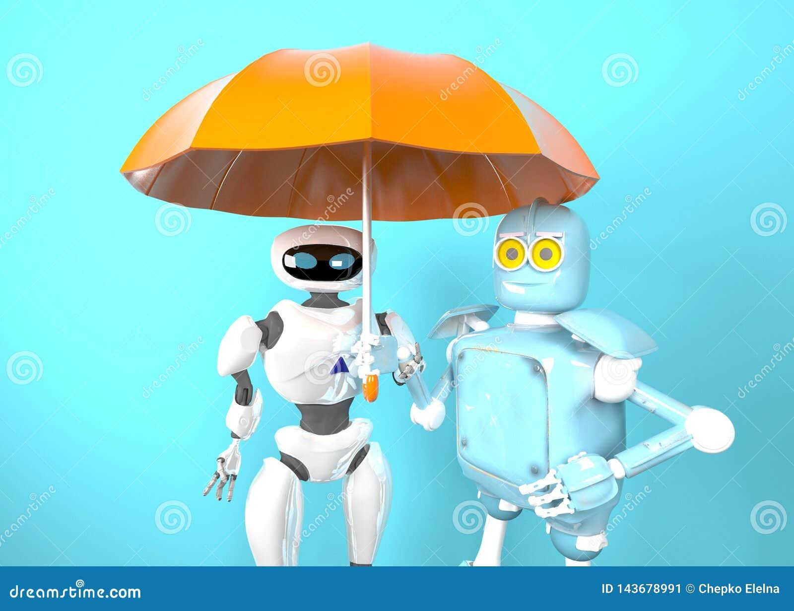Twee met 3d paraplu, geven terug