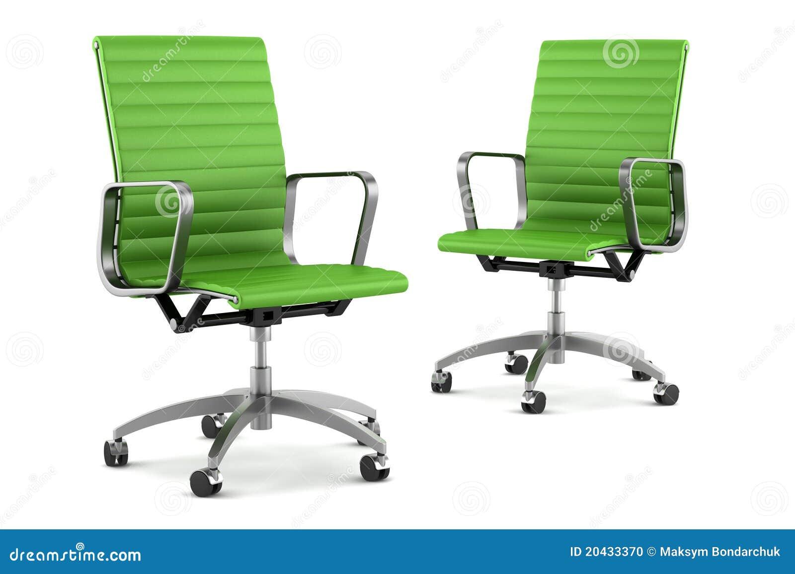 Twee moderne groene bureaustoelen op wit stock foto for Sillas escritorio modernas