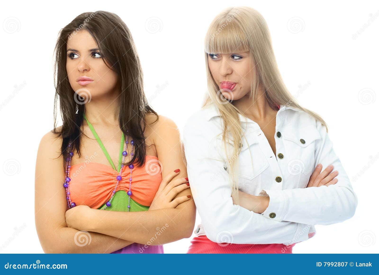 Twee Meisjes Geven Kerstmisgiften Stock Foto - Afbeelding