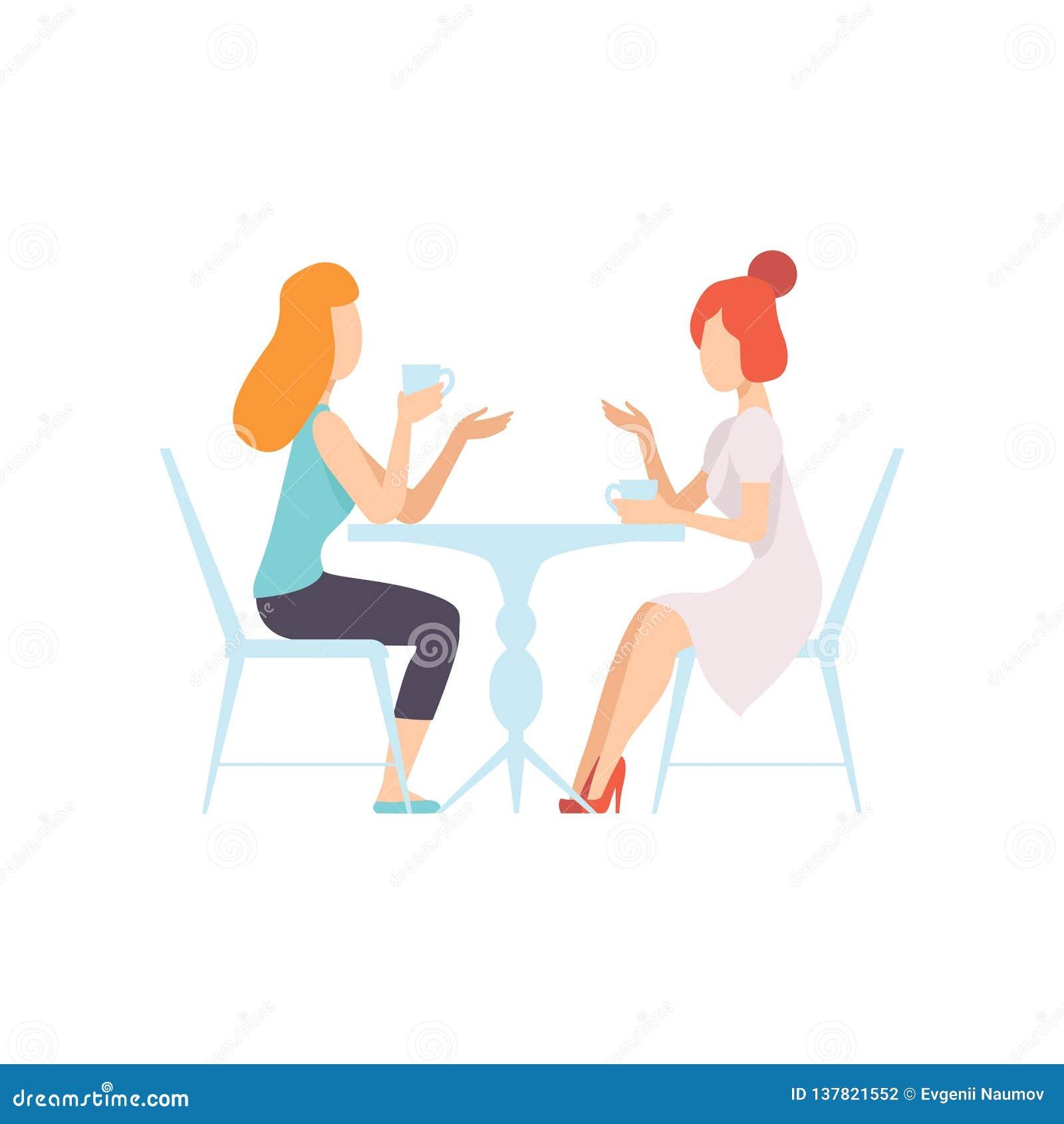 Twee Mooie Vrouwenvrienden die in Koffie, Vrouwelijke Vriendschaps Vectorillustratie zitten