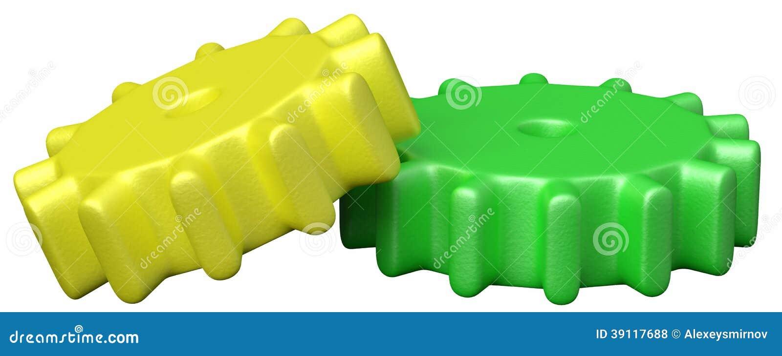 Twee plastic stuk speelgoed tandraderen