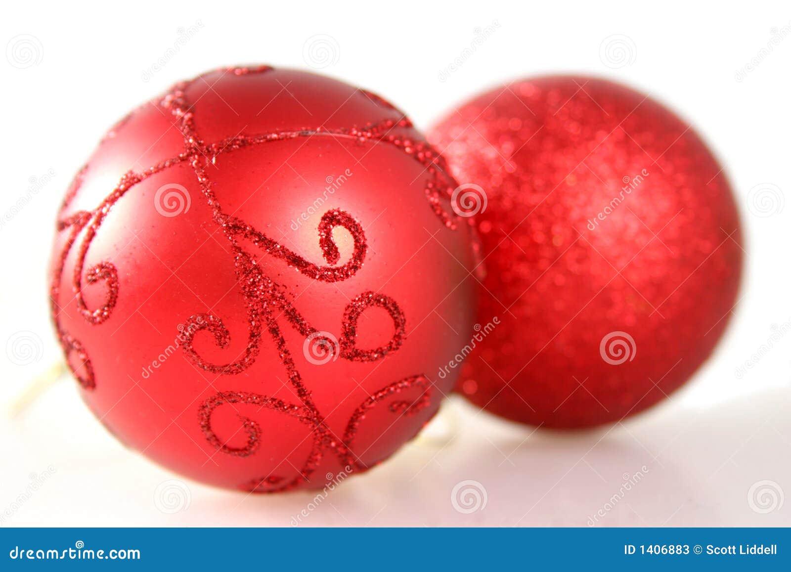 Twee Rode Decoratie van Kerstmis