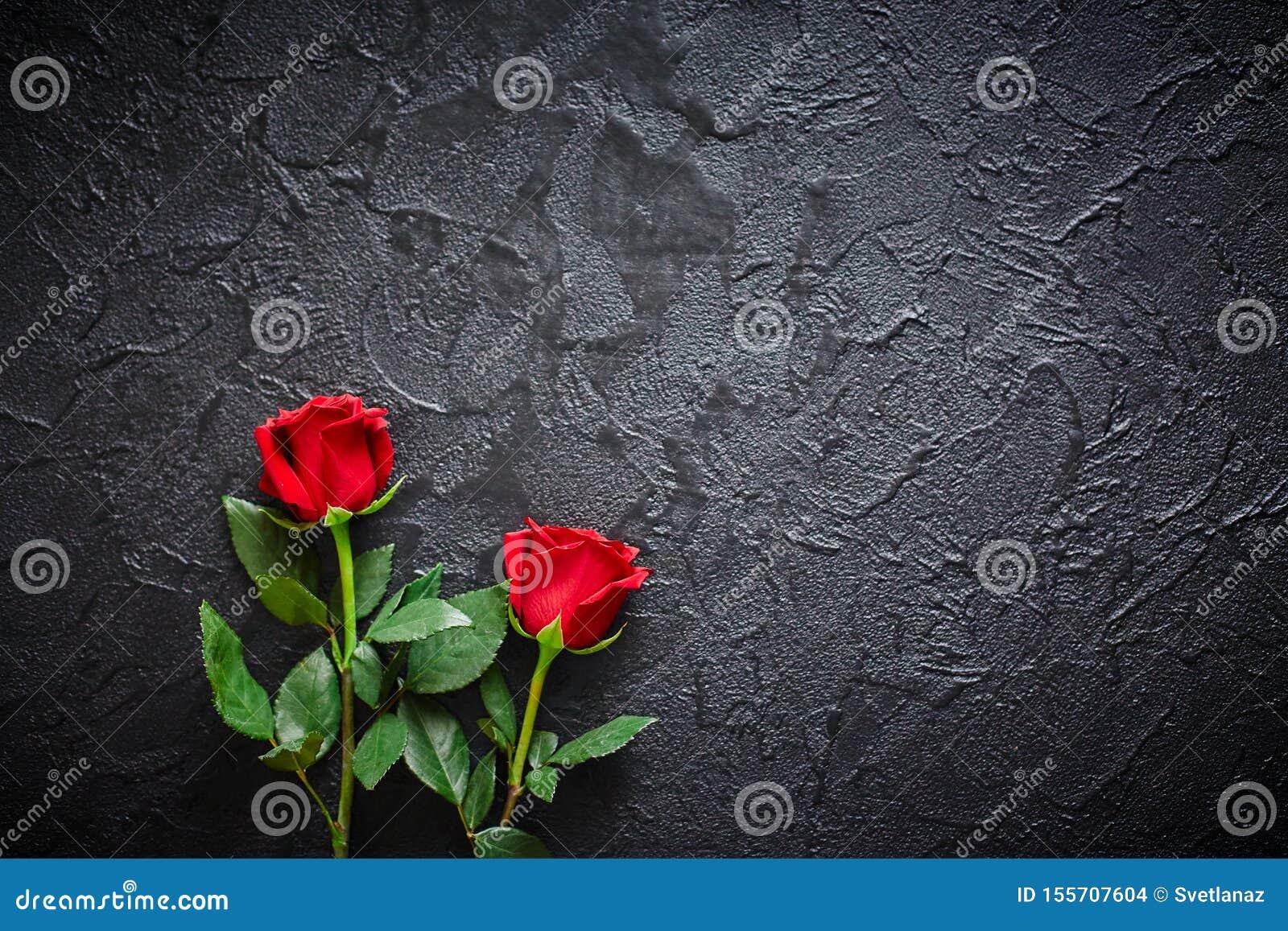 Twee rode rozen op een donkere, zwarte steenachtergrond Plaats voor tekst