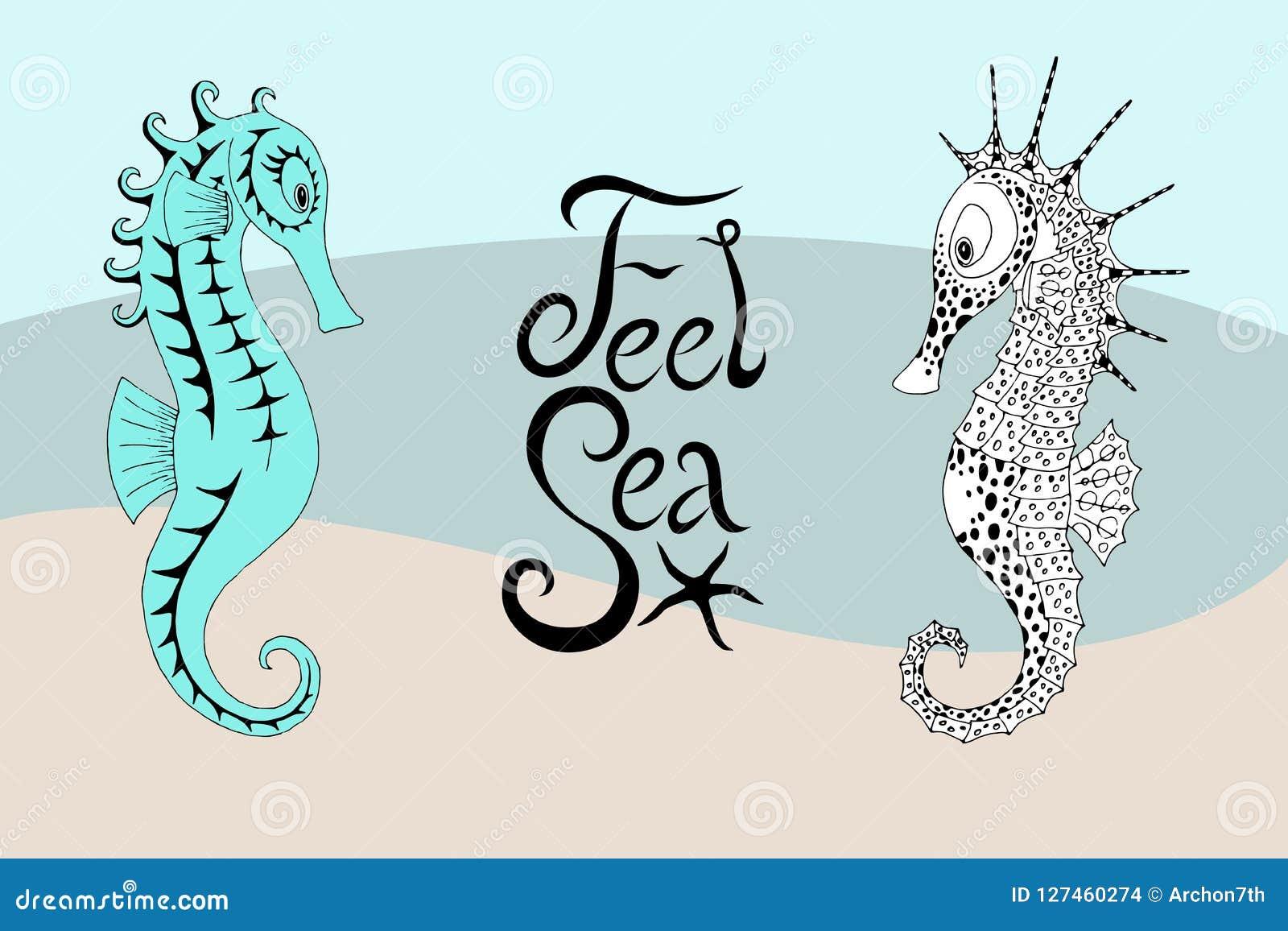 Twee seahorses en de kalligrafische inschrijving met gevoel