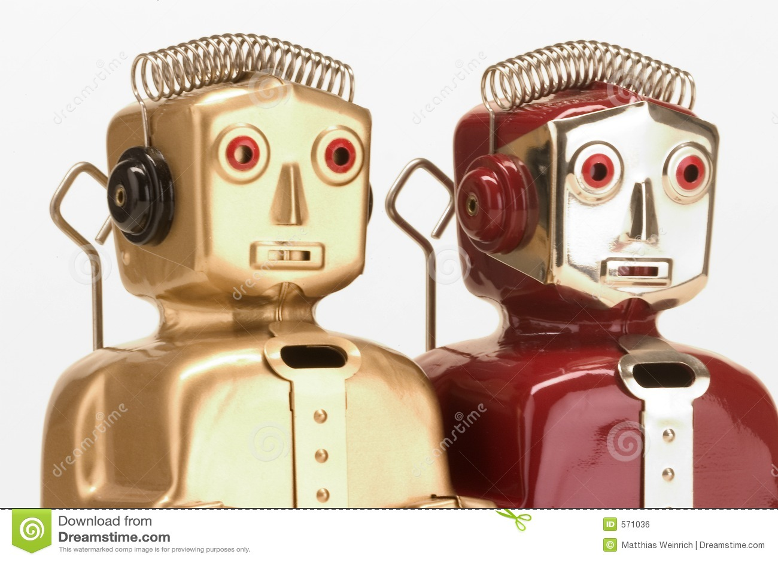 Twee stuk speelgoed robots