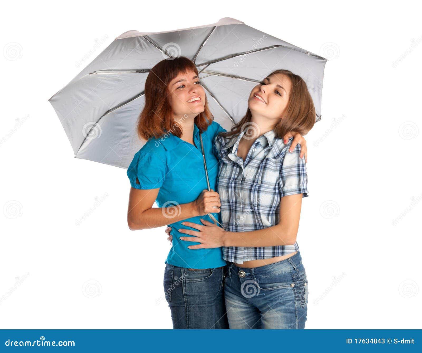 Twee tiener meisjes met paraplu stock afbeelding afbeelding 17634843 - Tiener meisje foto ...