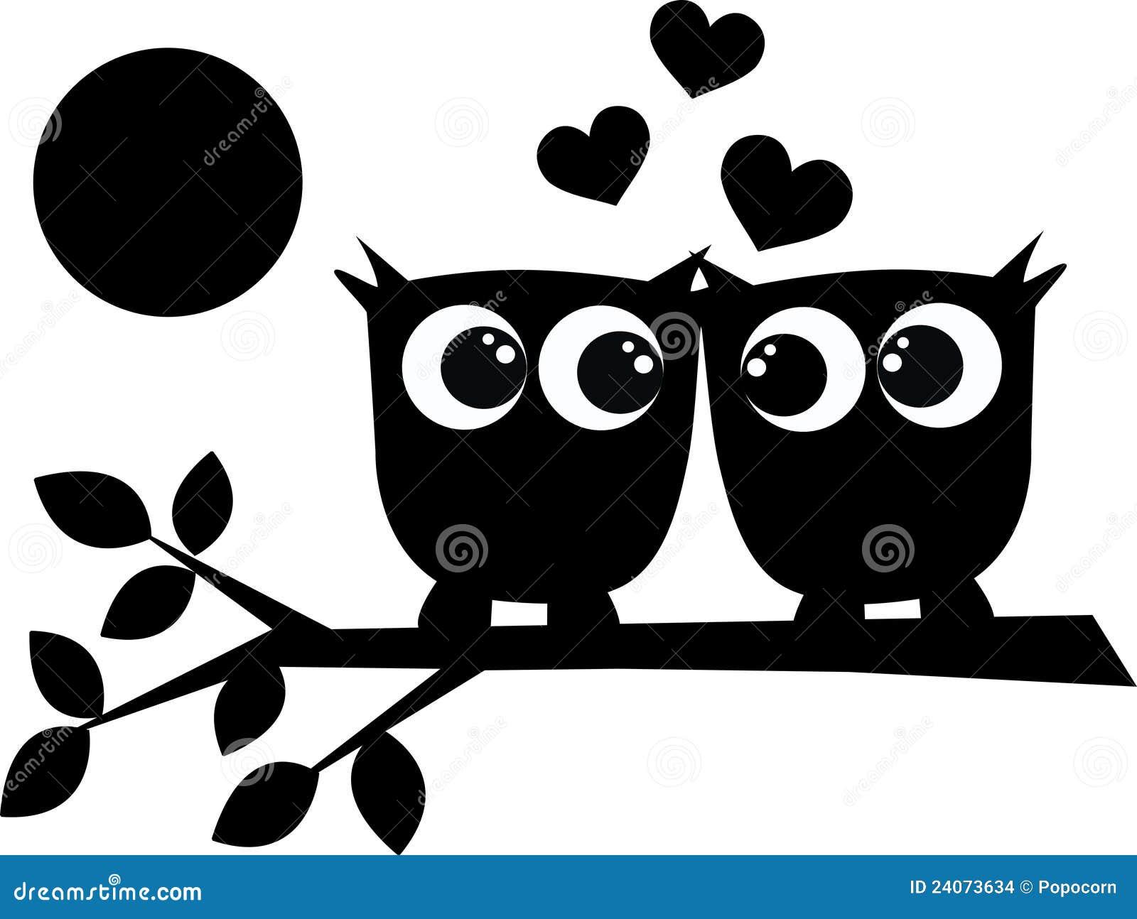 Twee uilen in liefde