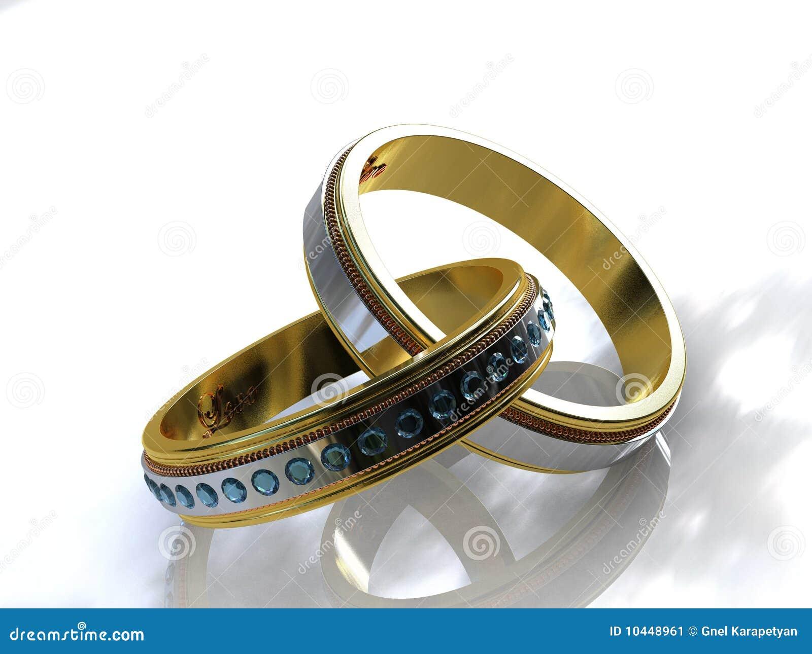 Twee verlovingsringen van de toon gouden topaas