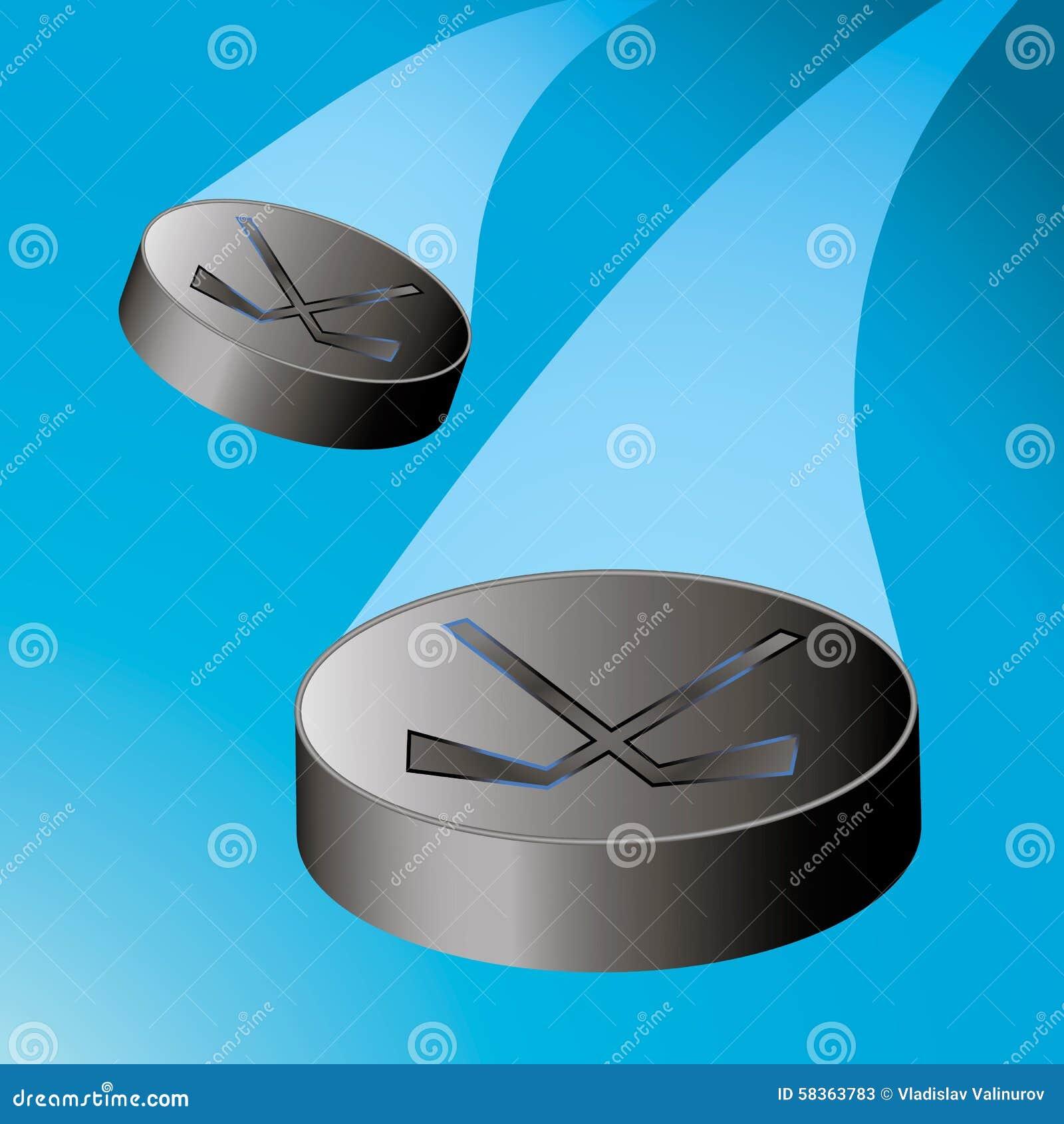 Twee vliegende hockeypuck aan de linkerzijde met een trein