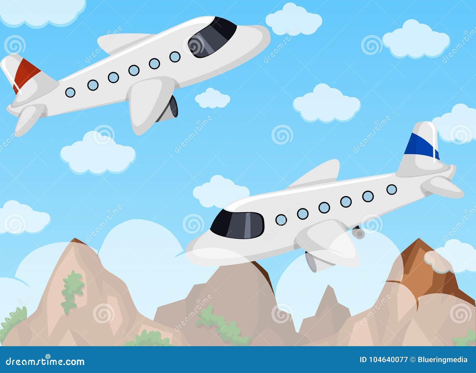 Download Twee Vliegtuigen Die In De Hemel Vliegen Vector Illustratie - Illustratie bestaande uit vliegtuig, tekening: 104640077