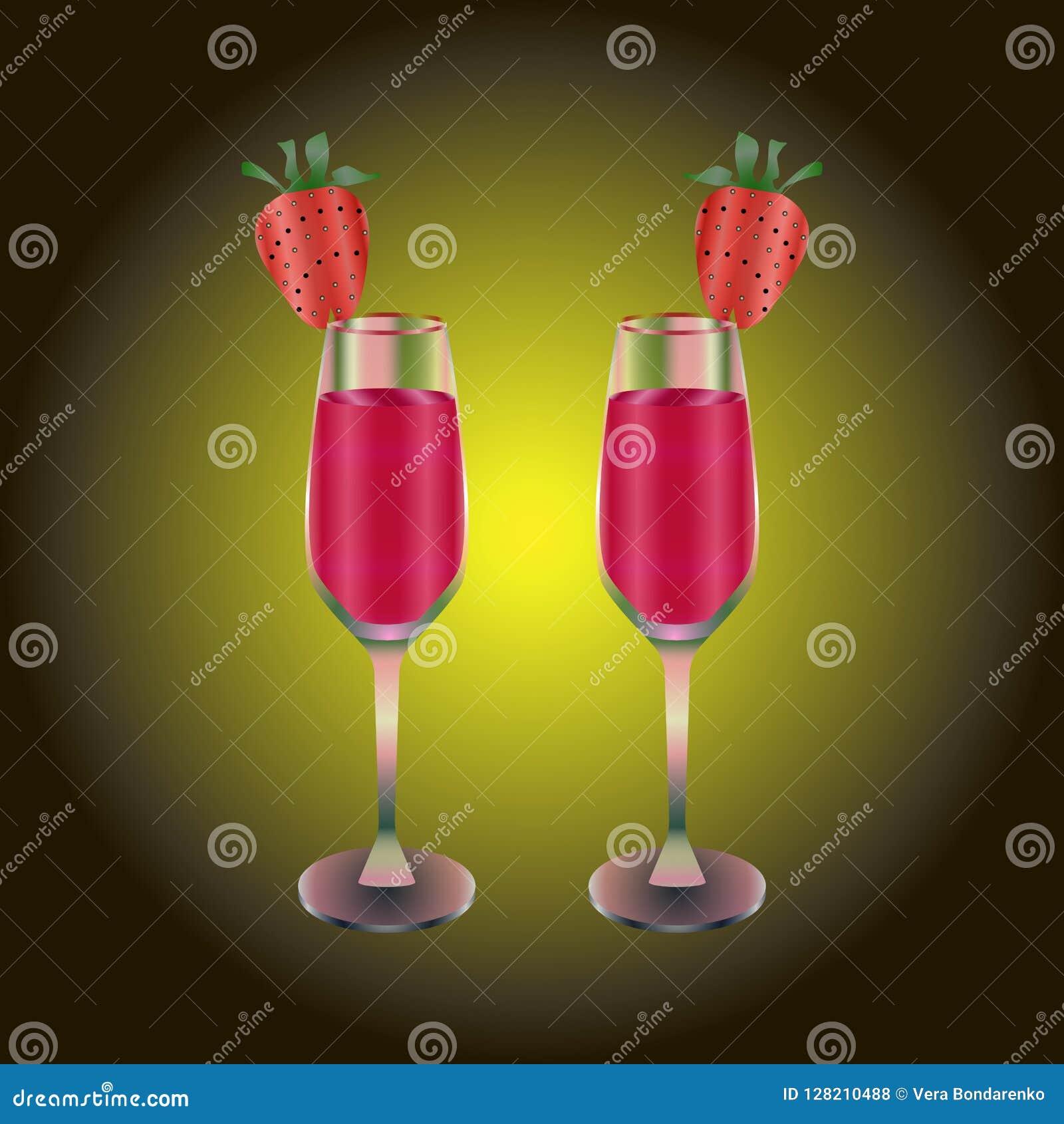 Twee wijnglazen met rode drank en aardbei