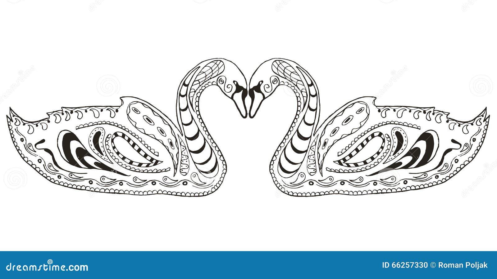 Twee Zwanen Zentangle Stileerden Illustratie Vector Uit