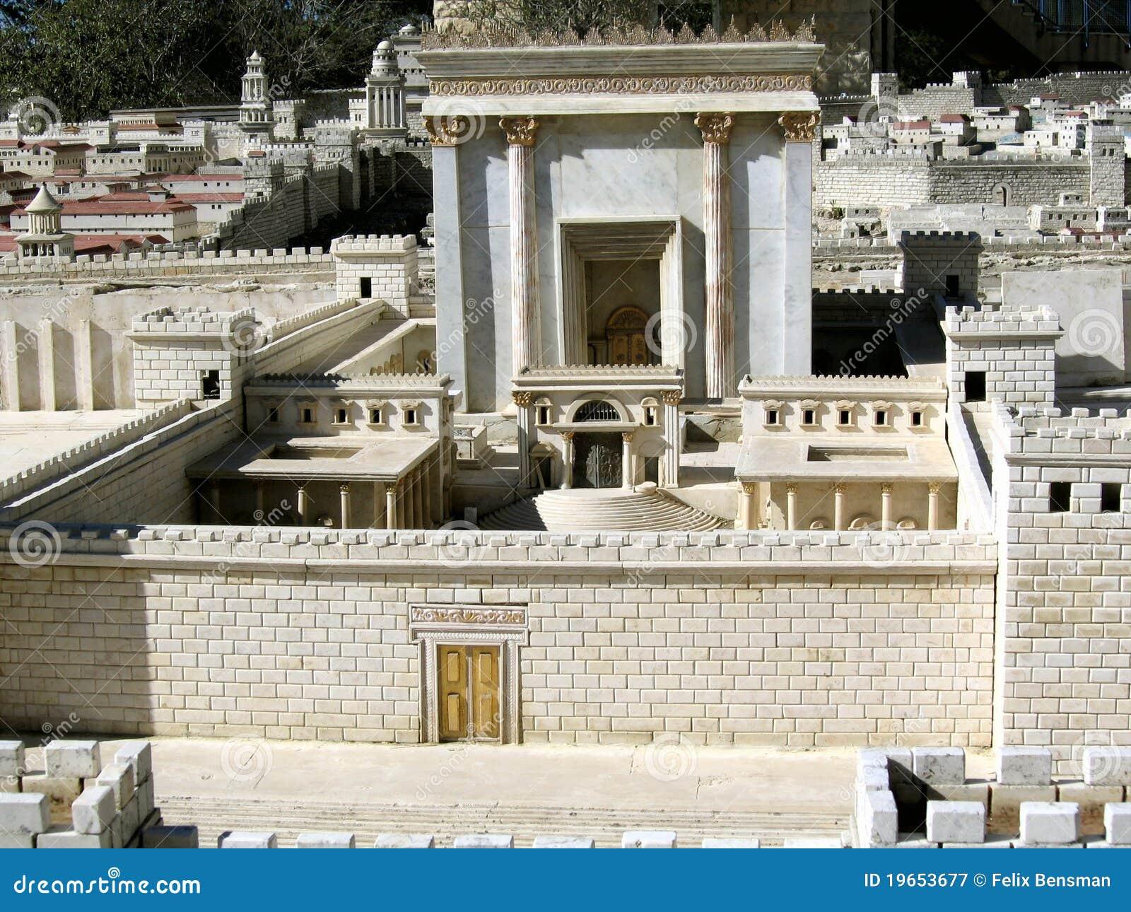 Tweede Temple.Model van oud Jeruzalem