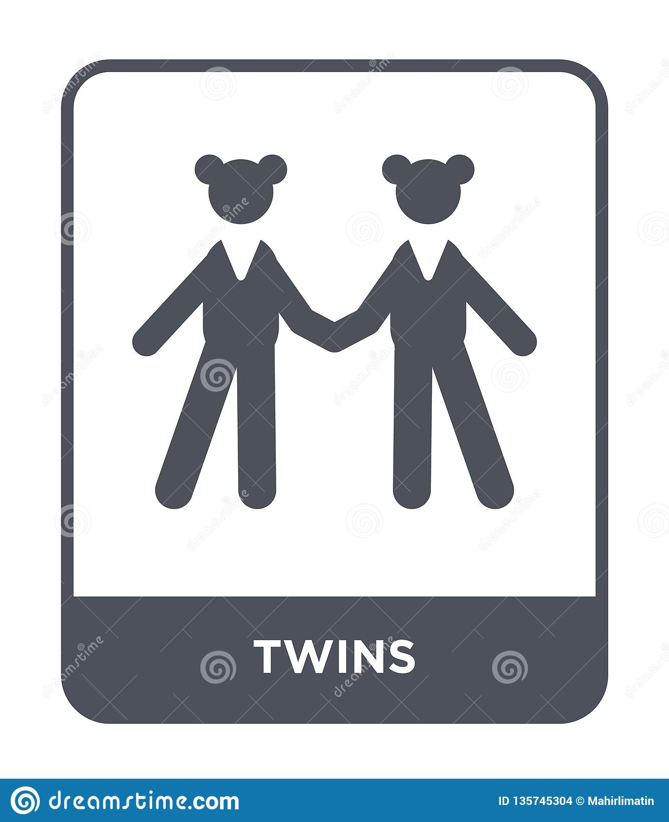 Tweelingenpictogram in in ontwerpstijl tweelingenpictogram dat op witte achtergrond wordt geïsoleerd eenvoudige en moderne vlakke