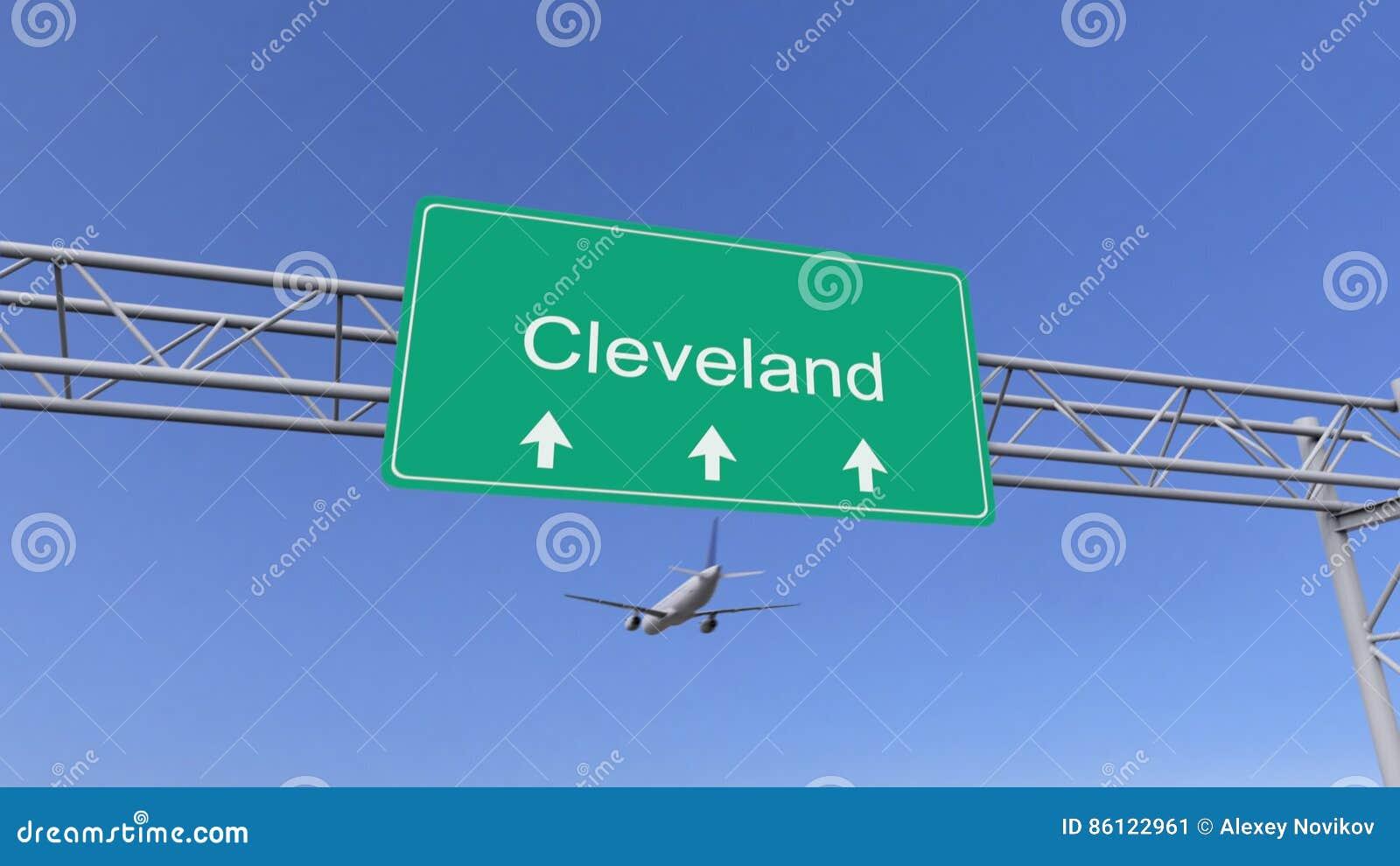 Tweelingmotor commercieel vliegtuig die aan de luchthaven van Cleveland aankomen Het reizen naar het conceptuele 3D teruggeven va