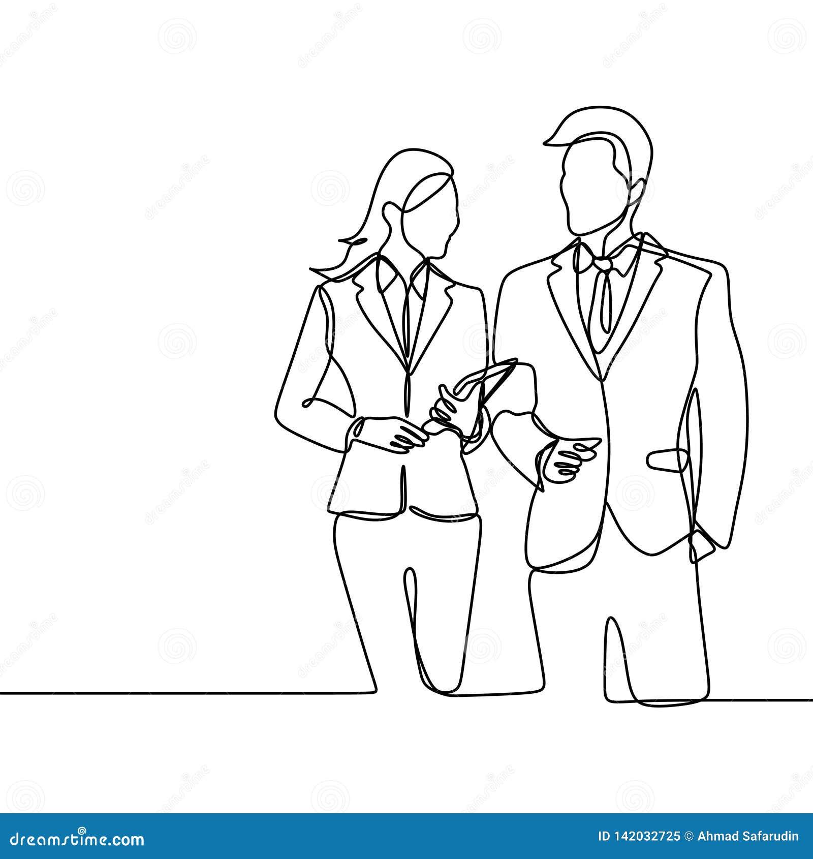 Tweepersoons van beambte het concept een werkgever en zijn secretaresse die kijkt zachte en ontzagwekkende ononderbroken lijnteke