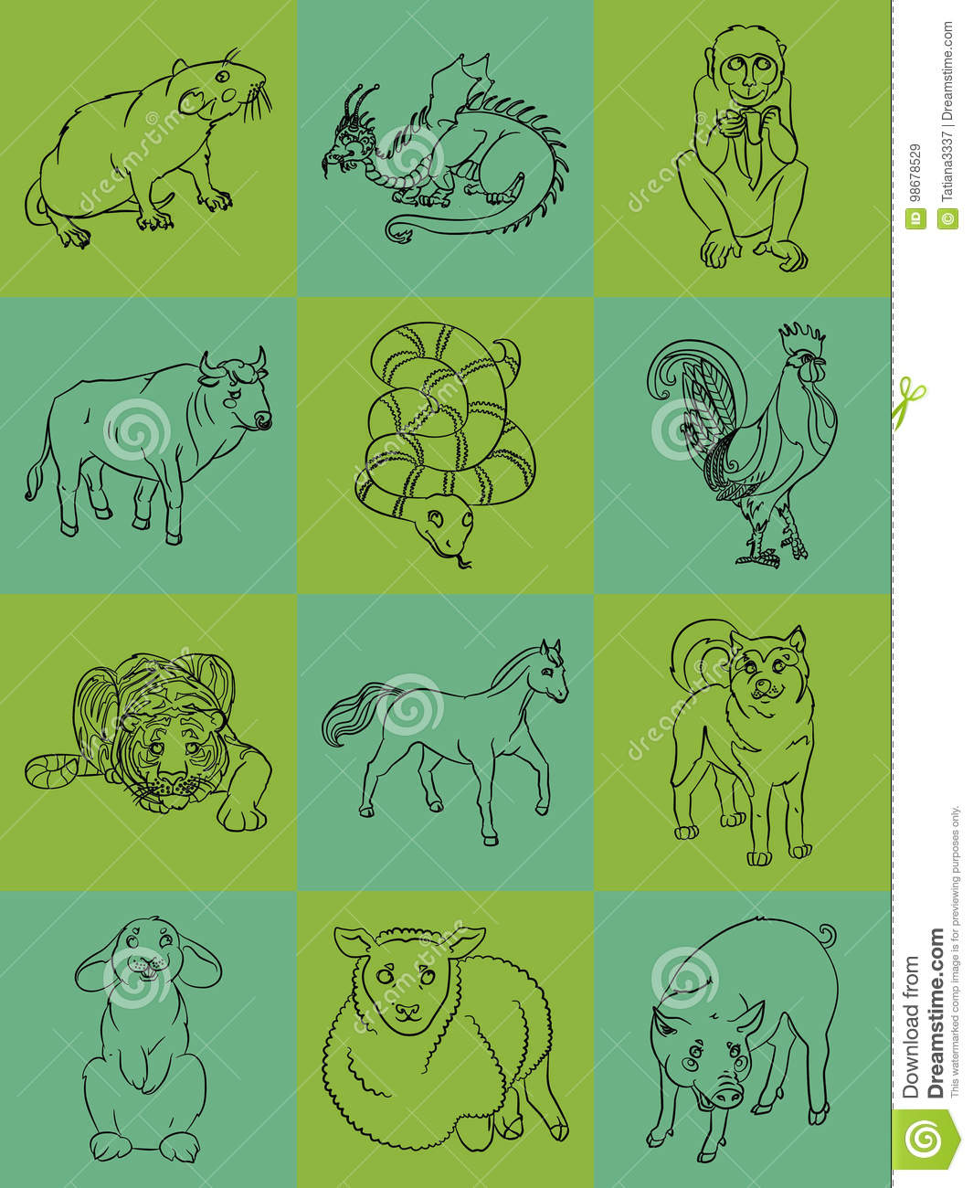 Twelve Animals Of The Chinese Horoscope Stock Vector