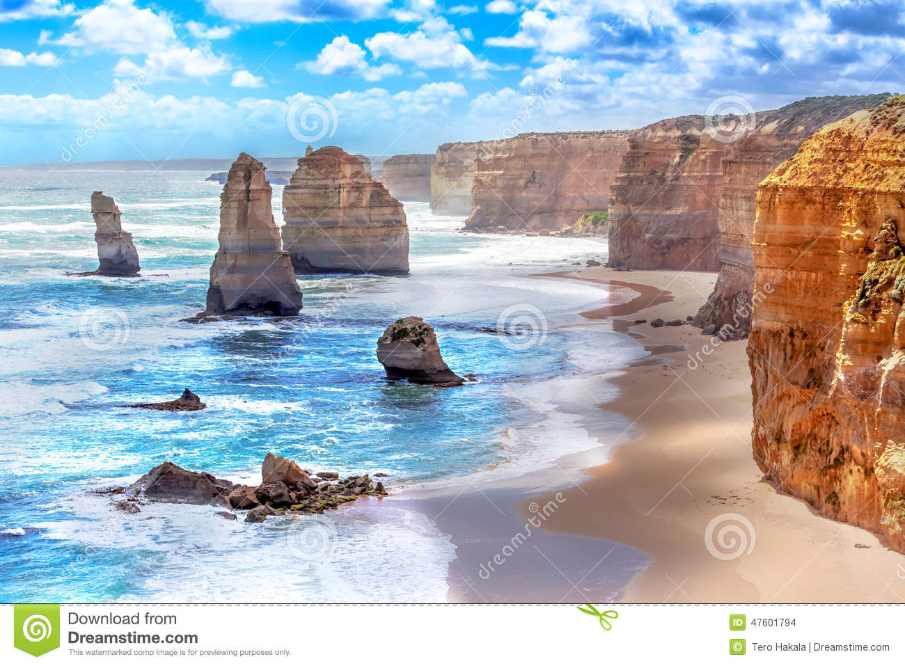 Download Twelve Apostles Along The Great Ocean Road In Australia Stock Photo - Image of horizontal, natural: 47601794