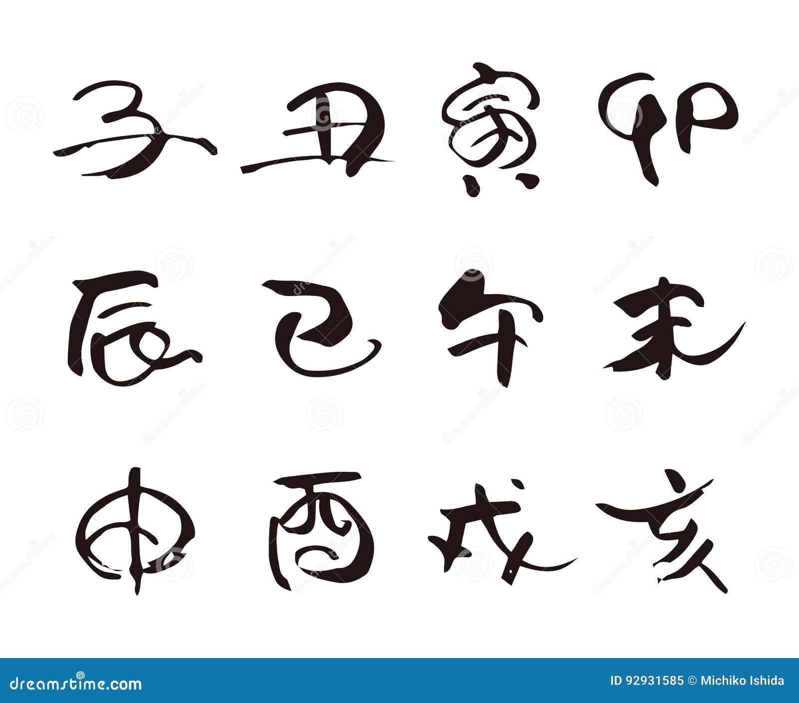 Twelve chinese zodiac animal sign brushstroke calligraphy