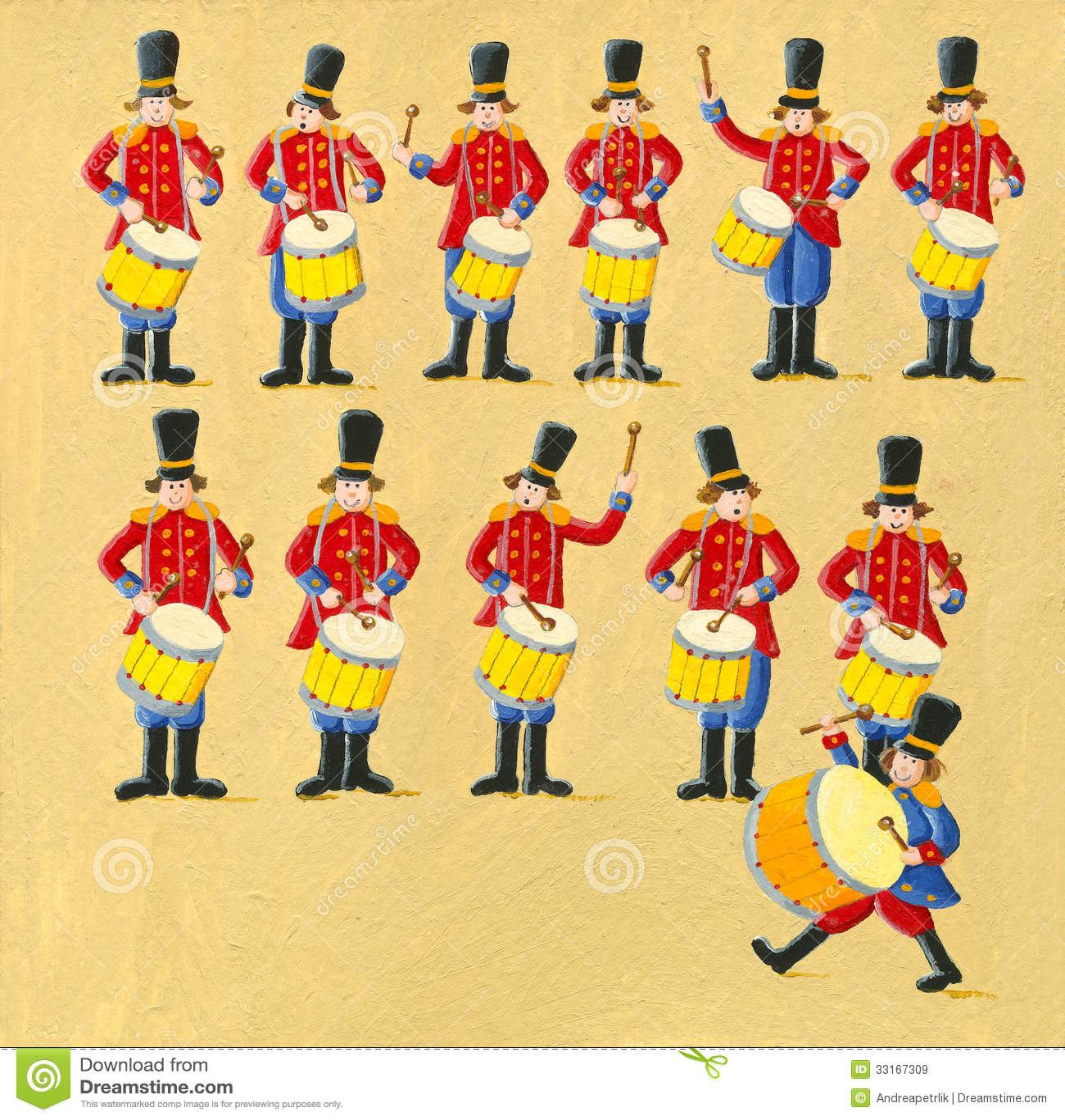 Twelve Drummers Drumming Royalty Free Stock Images - Image: 33167309