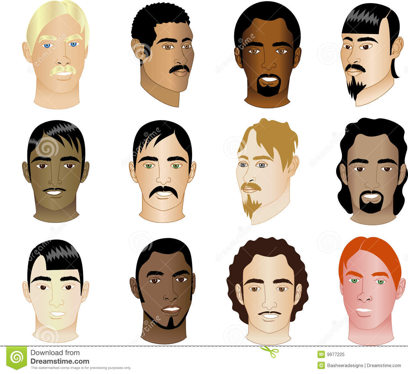 Twelve Men39;s Faces Different Races amp; Cultural Royalty Free Stock Phot